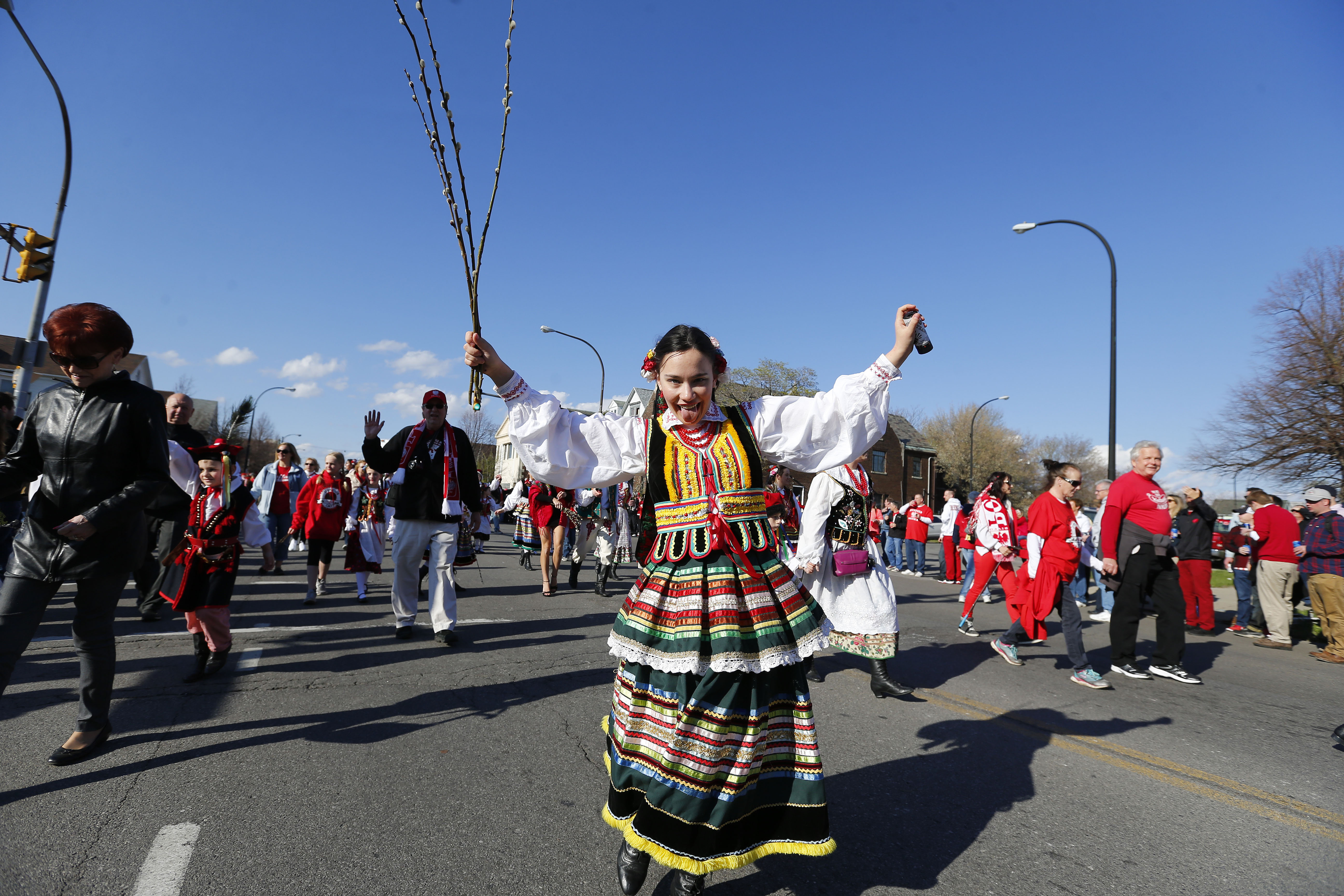 Marchers walk down Fillmore Avenue during the Dyngus Day parade in Buffalo on Monday, April 17, 2017.         (Mark Mulville/Buffalo News)