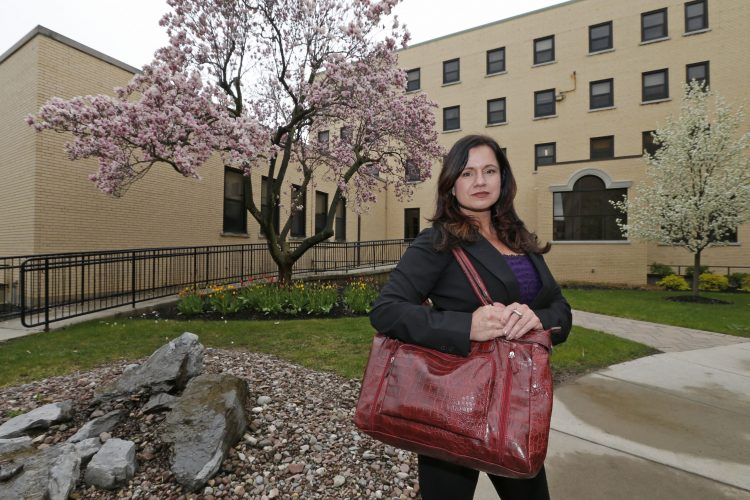 Michele Gawronski tried the traditional route to a college degree fresh out of Hamburg High School 28 years ago, and it didn't work. She's trying again now at Trocaire College in South Buffalo, where she was photographed on Tuesday, April 25, 2017.  (Robert Kirkham/Buffalo News)