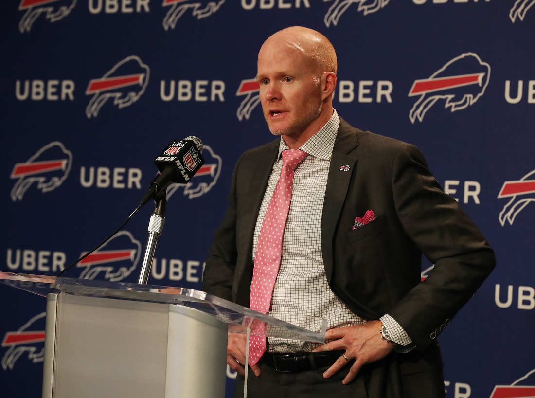 Buffalo Bills head coach Sean McDermott talks to the press about the Bills drafting Tre'Davious White with the 27th pick in the first round of the NFL 2017 Draft at ADPRO Sports Training Center media room Orchard Park N.Y. on Thursday, April 27, 2017.  (James P. McCoy/Buffalo News)