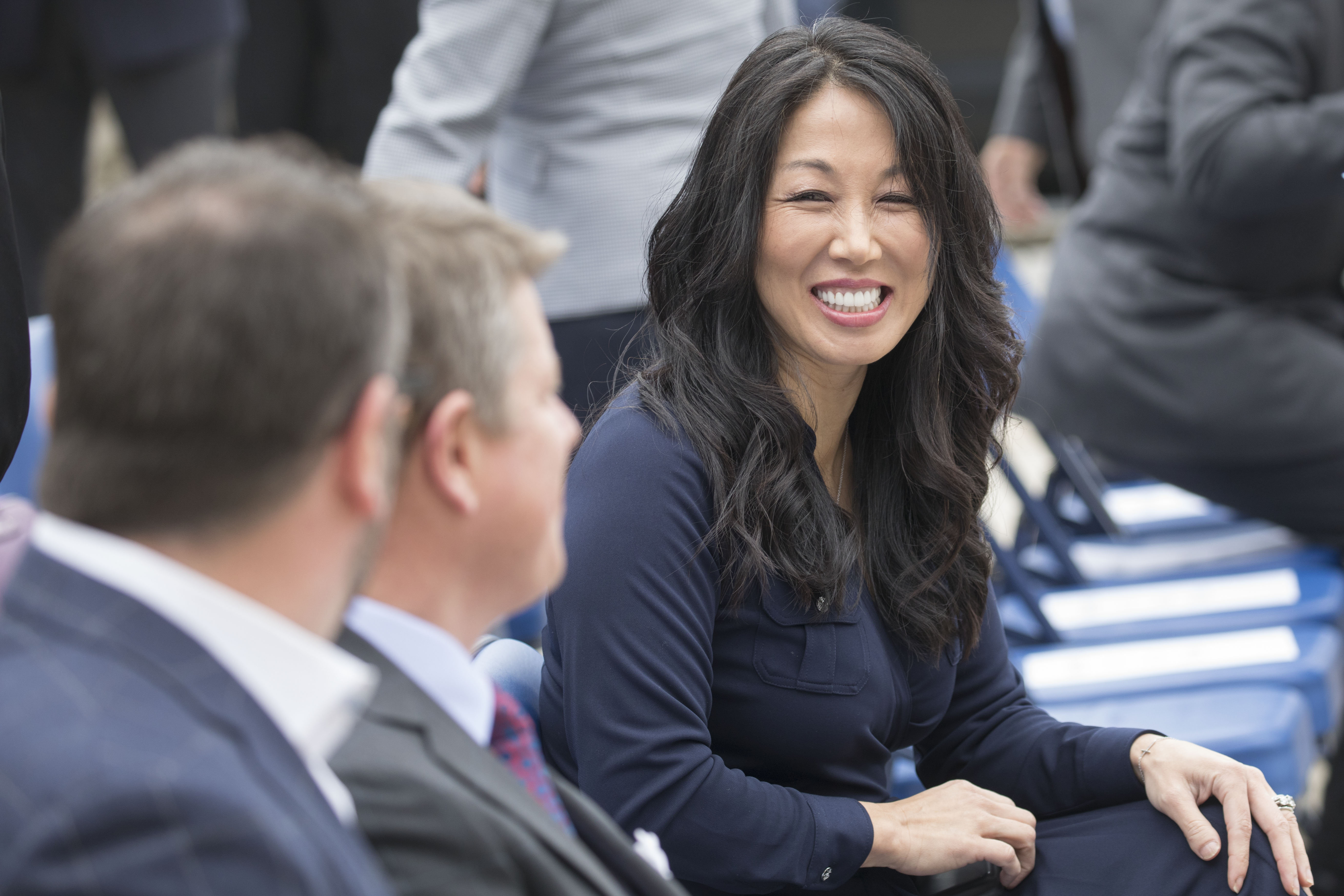 Kim Pegula sits in the front row of the Pegula Sports Entertainment announcement that they purchased the former Hi-Temp Fabrication building and will develop the new Labatt USA headquarters which will include a pilot brewery, Wednesday, April 26, 2017.  (Derek Gee/Buffalo News)