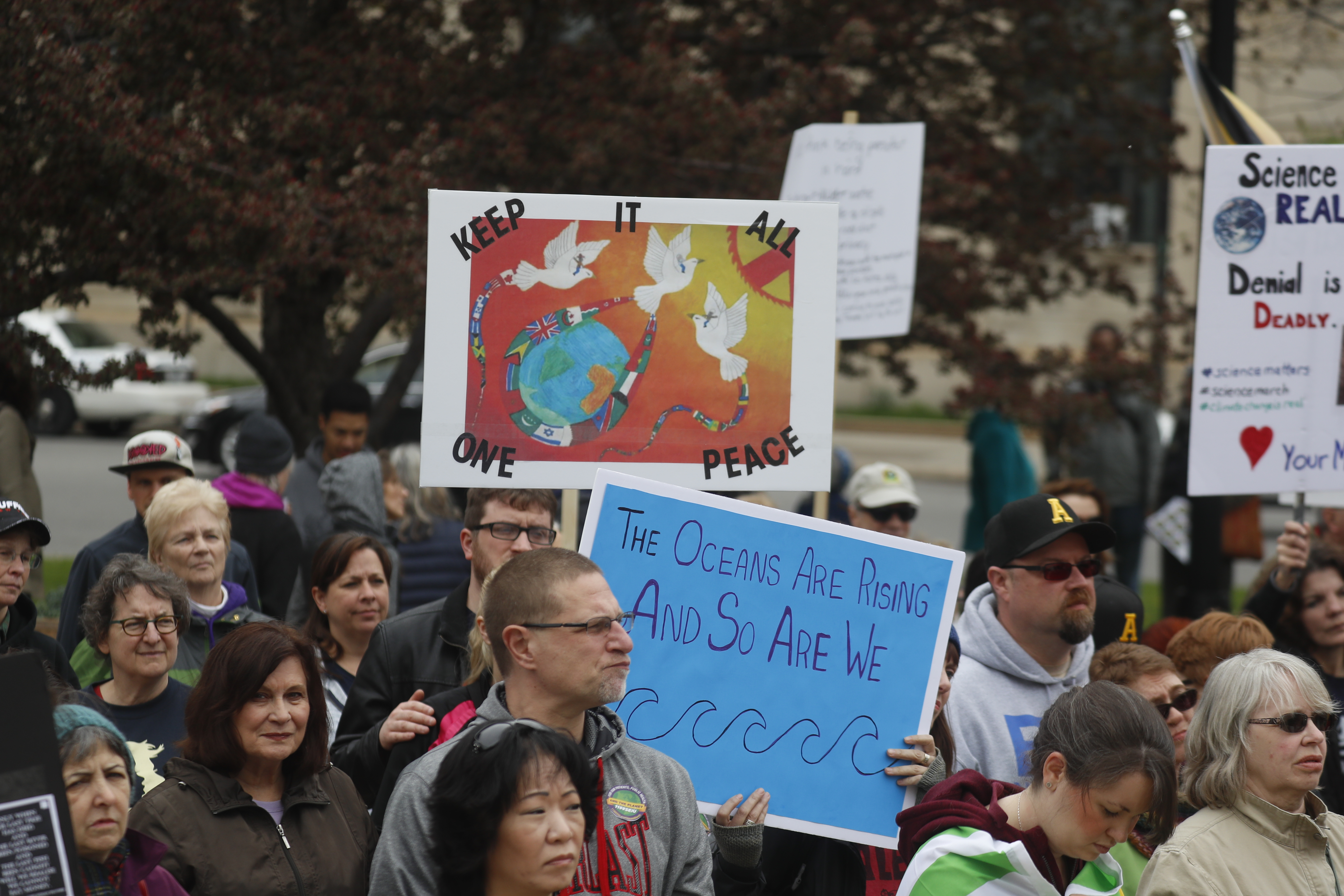 Hundreds gathered in Niagara Square to rally in support of science on  April 29. (John Hickey/Buffalo News)