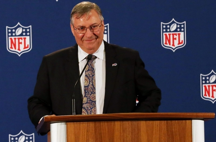 Terry Pegula made brief remarks after NFL owners unanimously approved his bid for the Buffalo Bills in 2014. (James P. McCoy/Buffalo News)