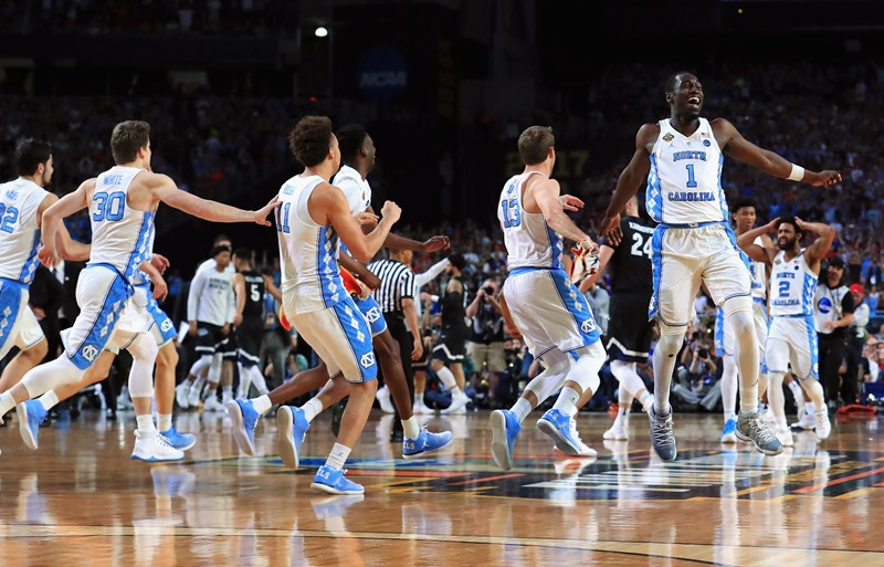 Theo Pinson No. 1 of the North Carolina Tar Heels celebrates with teammates after defeating the Gonzaga Bulldogs during the 2017 NCAA Men's Final Four National Championship game at University of Phoenix Stadium on April 3, 2017 in Glendale, Arizona. The Tar Heels defeated the Bulldogs 71-65. (Getty Images)