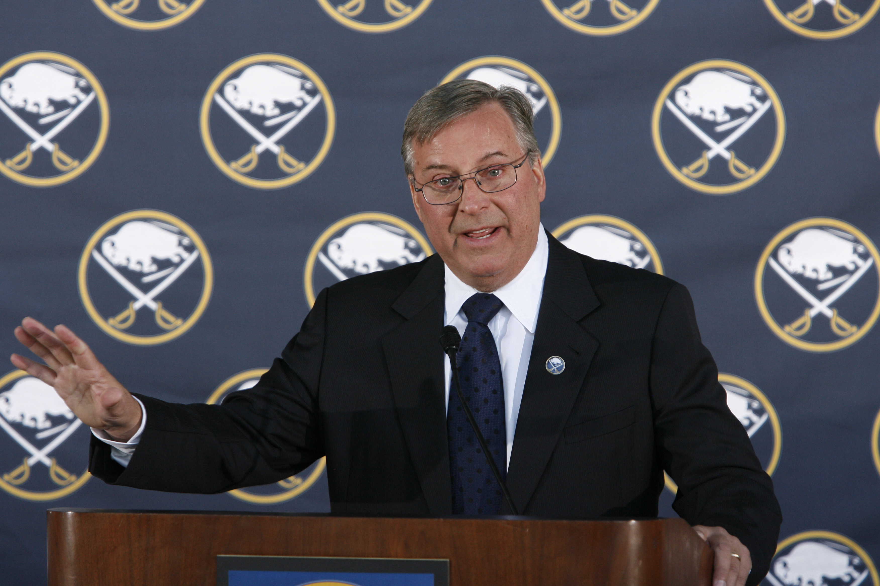 Terry Pegula, pictured on the day he was officially introduced as the new owner of the Buffalo Sabres: Feb. 22, 2011. (James P. McCoy/Buffalo News)