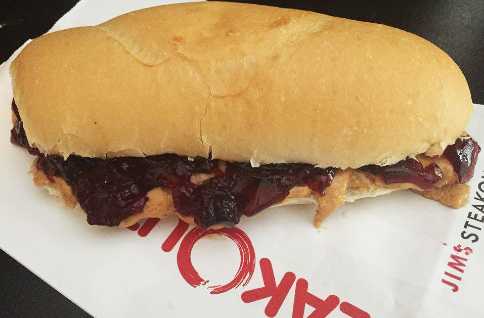 The faux peanut butter and jelly sub from Jim's Steakout makes the list of top April Fools' jokes in Buffalo in 2017. (via Jim's Steakout)
