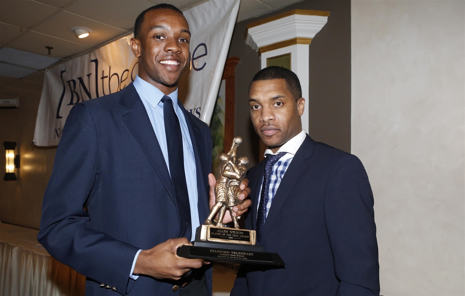 Stafford Trueheart of Canisius is presented the Allen Wilson Player of the Year Award at the 2016 Buffalo News/BCANY Awards. (Dave DeLuca/Special to The News)