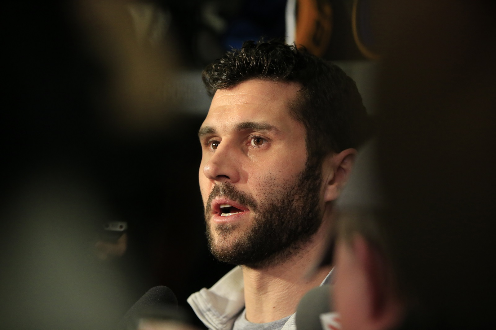 Buffalo Sabres Brian Gionta speaks to the media on locker cleanout day earlier this month in KeyBank Center. (Harry Scull Jr./Buffalo News)