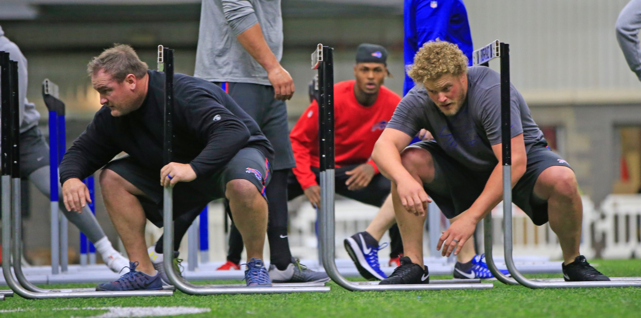 With players like Kyle Williams, left, and Eric Wood on the roster, the Buffalo Bills don't lack for leadership. (Harry Scull Jr./Buffalo News)