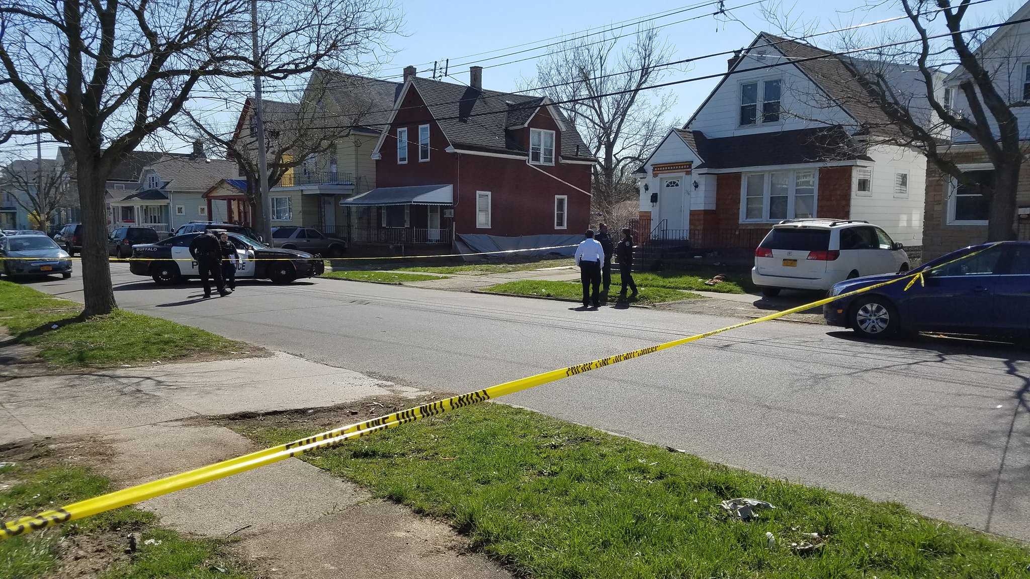 Buffalo police are on the scene of a shooting in the 100 block of Edison Avenue. (Harold McNeil/Buffalo News)