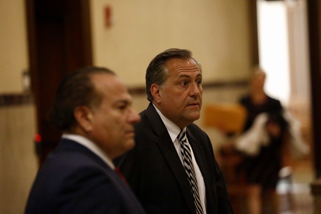 G. Steven Pigeon, right, arrives with attorney Paul Cambria at State Supreme Court Wednesday. (Derek Gee/Buffalo News)