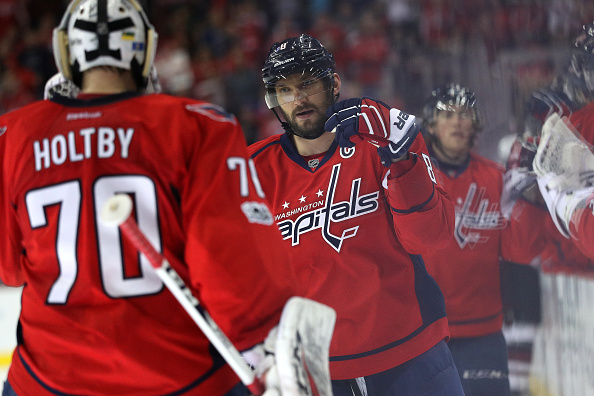 Alex Ovechkin and goalie Braden Holtby have the Capitals moving toward the Presidents' Trophy (Getty Images).