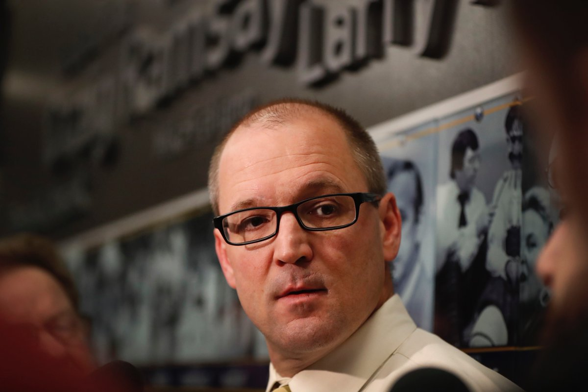 Sabres coach Dan Bylsma holds his pregame briefing with reporters Sunday (Harry Scull Jr./Buffalo News).
