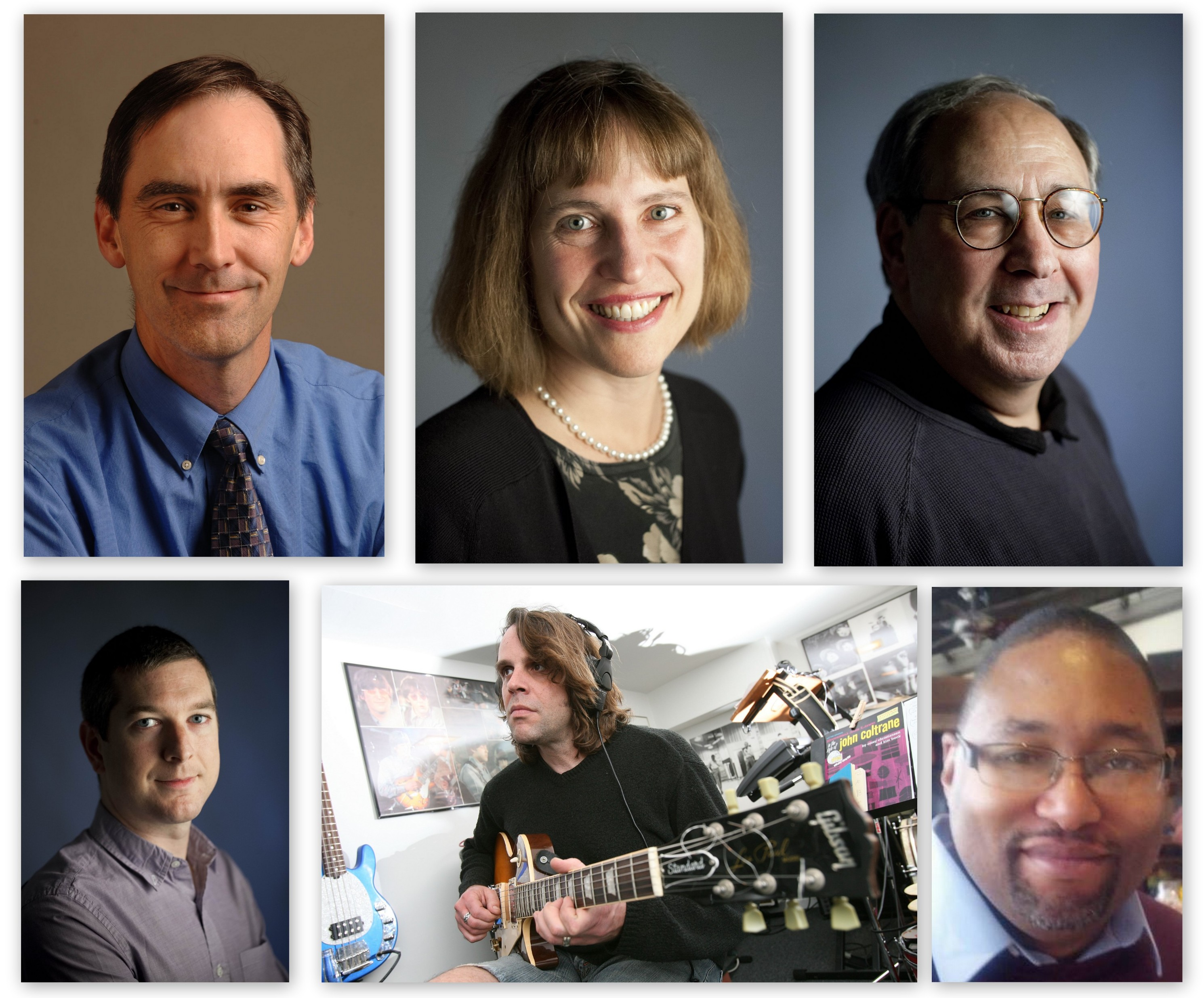 Clockwise from left: Assistant Managing Editor/Features Bruce Andriatch, Classical Music Critic Mary Kunz Goldman, Arts Editor Jeff Simon, copyeditor Trey Bankhead, Pop Music Critic Jeff Miers and Arts Critic Colin Dabkowski.