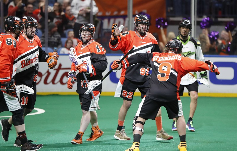 Dhane Smith (middle) and the Bandits face two crucial games this weekend. (Harry Scull Jr. / Buffalo News)