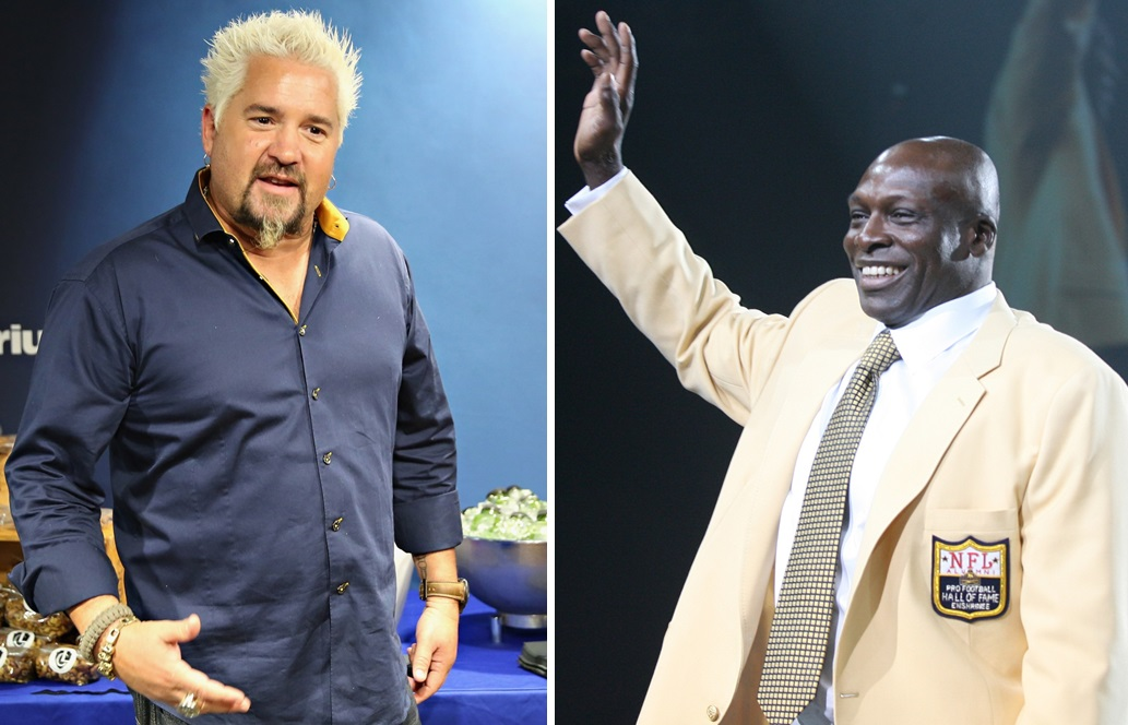 'Diners, Drive-Ins and Dives' host Guy Fieri filmed with Bills legend Bruce Smith at The Dirty Buffalo on Wednesday. (Getty Images; Buffalo News file photo)