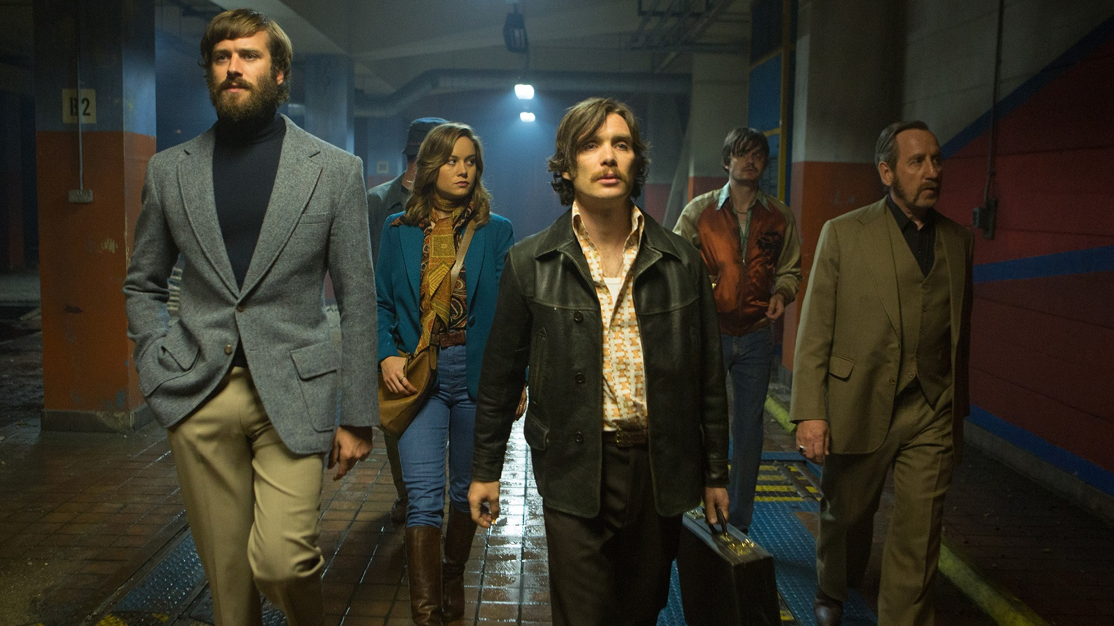 Armie Hammer, Brie Larson, Cillian Murphy, Sam Riley and Michael Smiley in the film, 'Free Fire.' (Kerry Brown/A24)