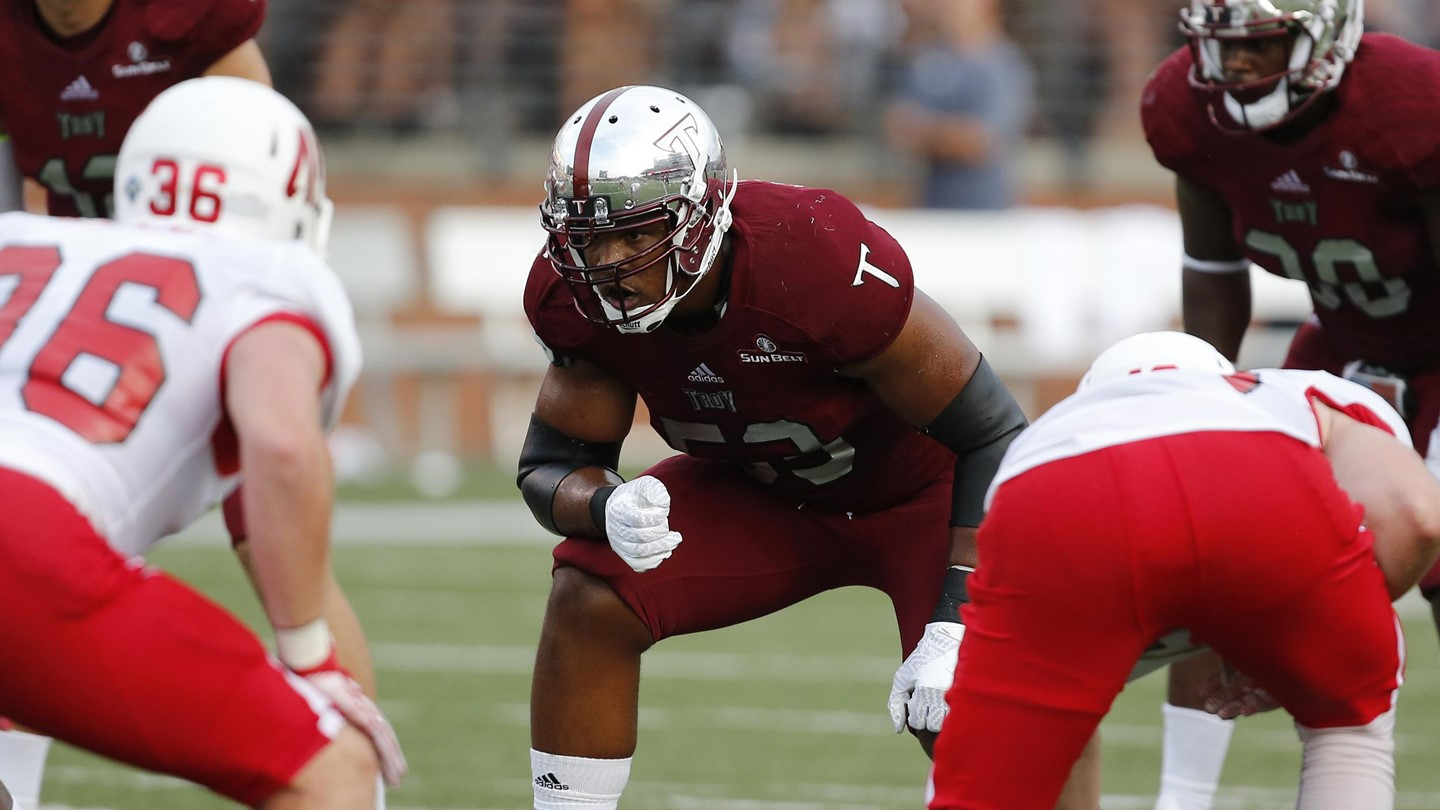 Troy offensive tackle Antonio Garcia was lightly recruited out of high school, but has developed into an NFL draft prospect. (Photo via Troy athletics)