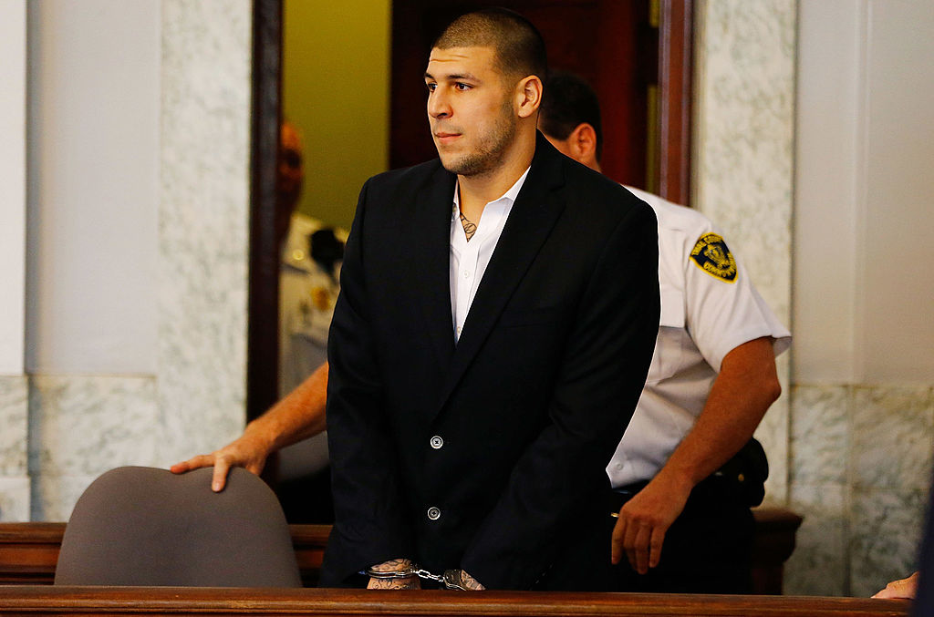 Former New England Patriots tight end Aaron Hernandez committed suicide in prison on Wednesday morning. (Photo by Jared Wickerham/Getty Images)
