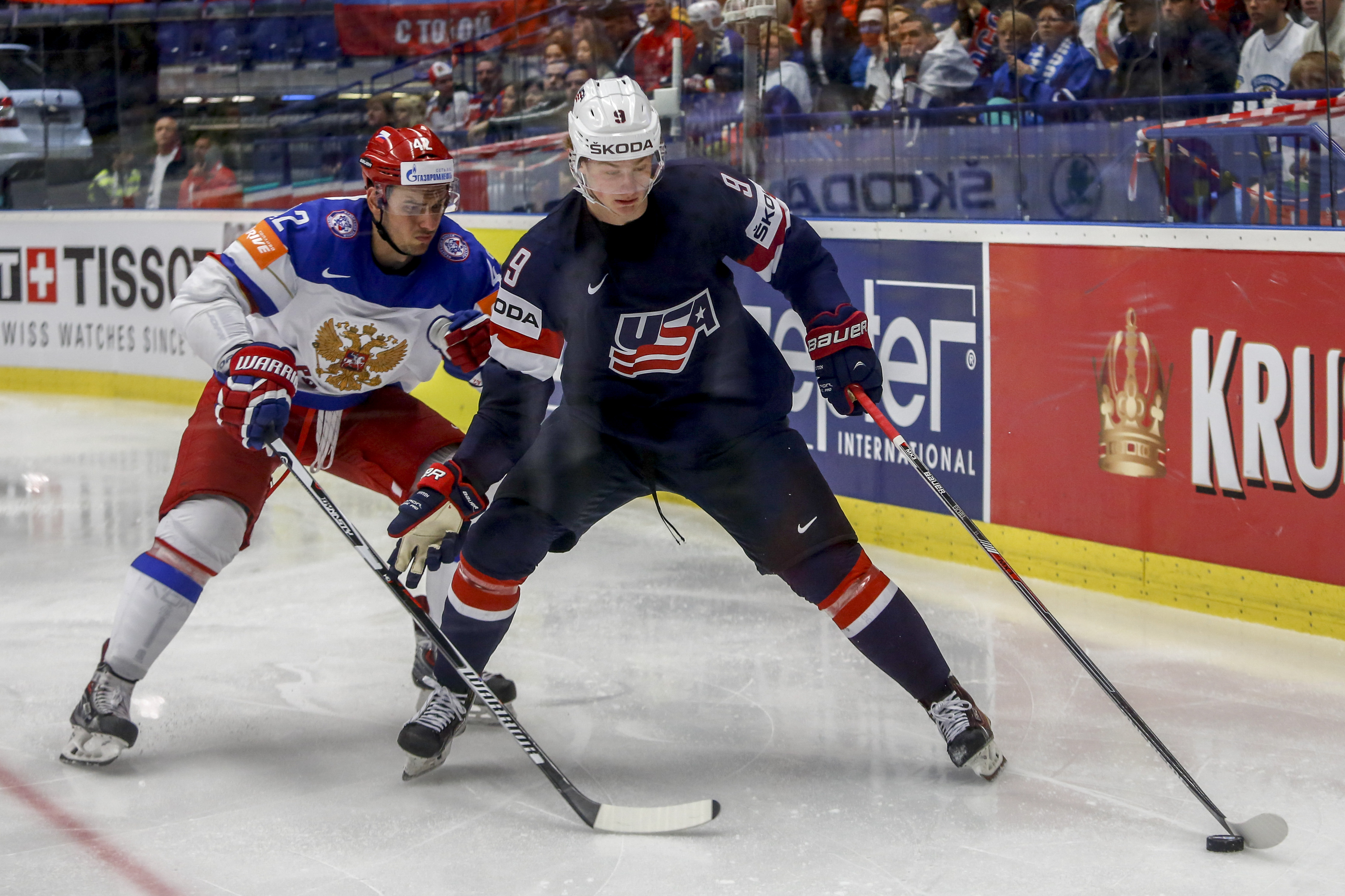 Jack Eichel recorded seven points in 10 games during the 2015 world championships. (Getty Images)
