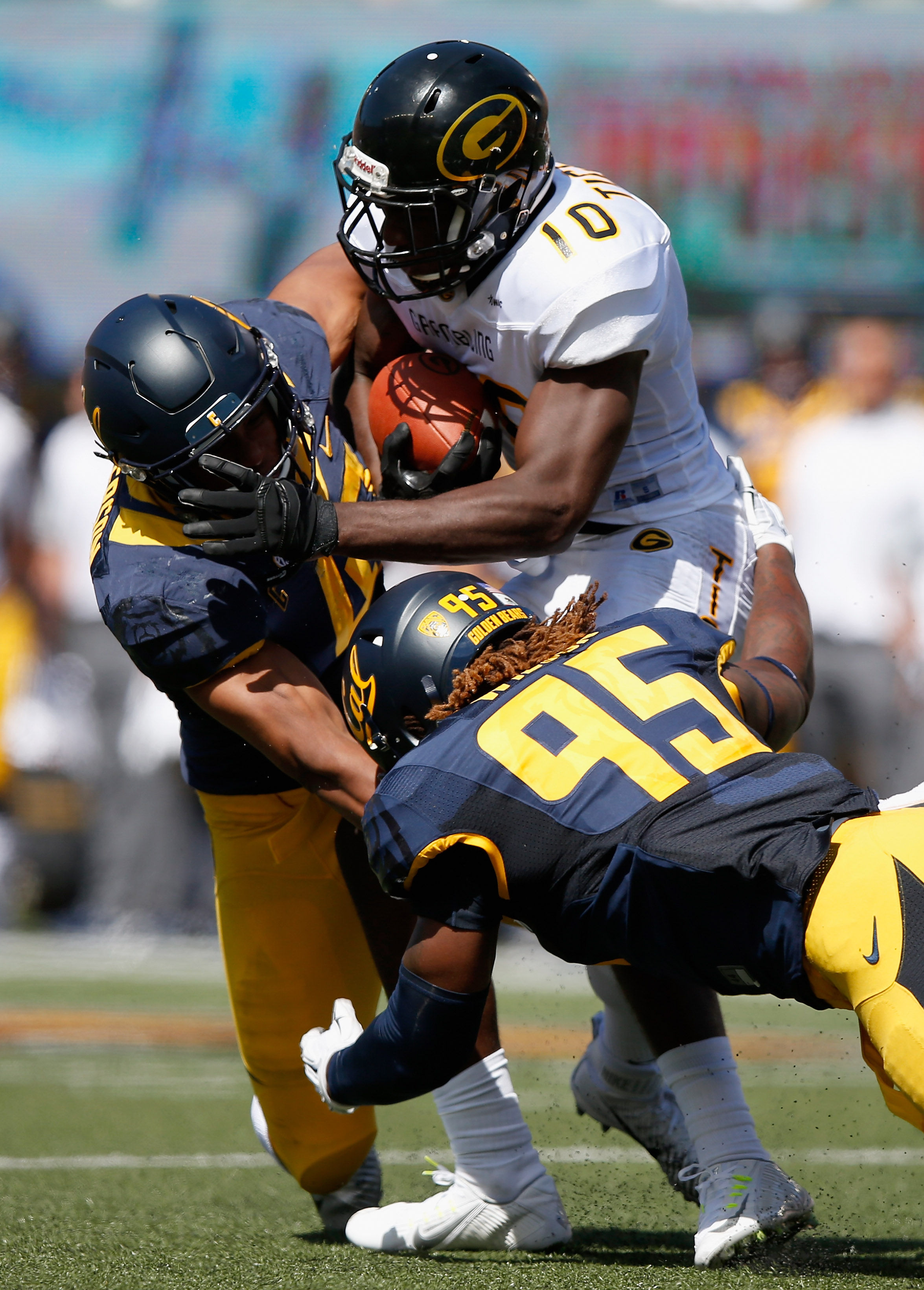 Grambling State wide receiver Chad Williams, shown here getting tackled in a game against Cal, played well against tougher opponents. (Getty Images)