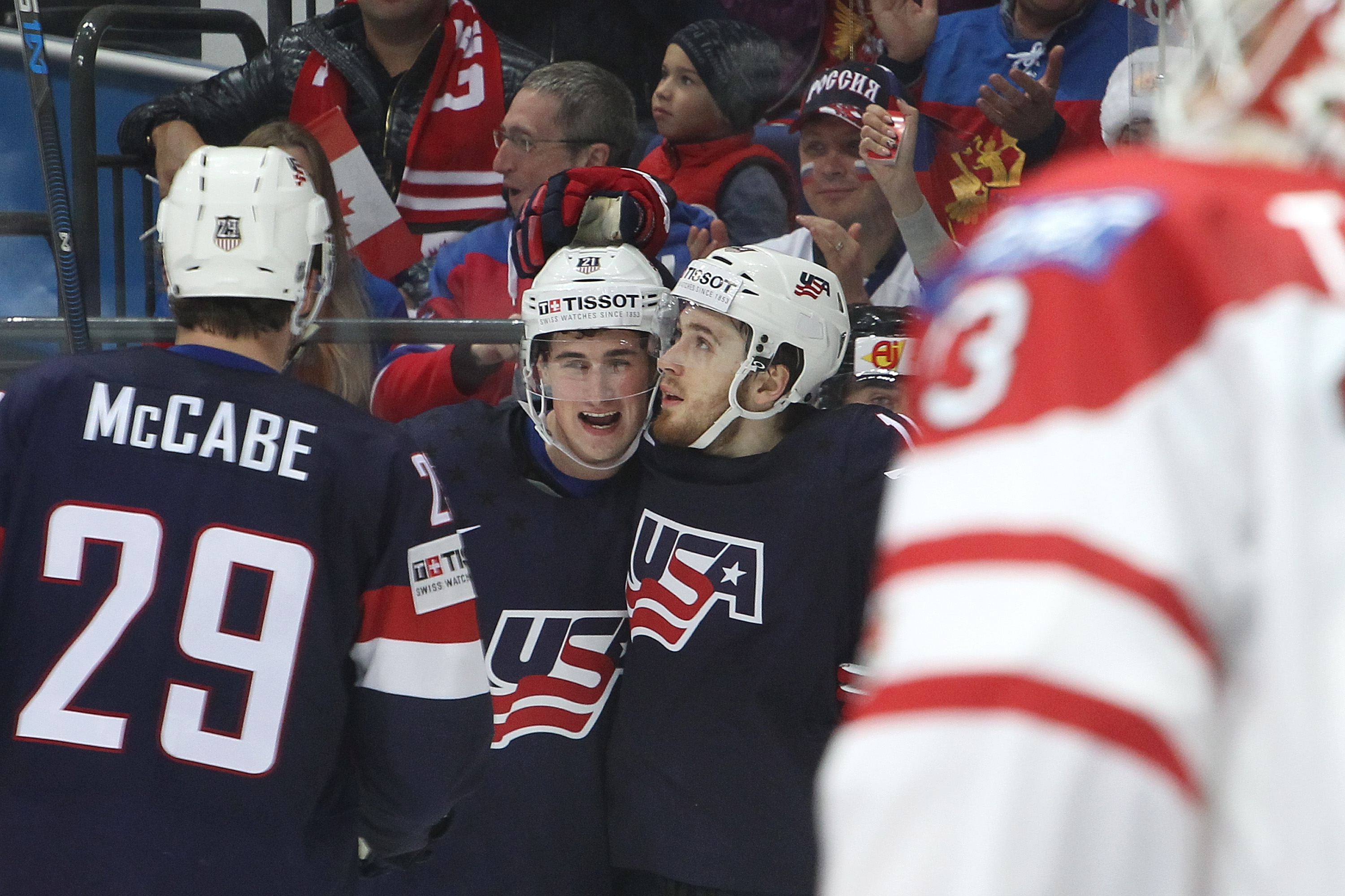 The Sabres' Jake McCabe joined Dylan Larkin and Tyler Motte in representing the United States at last year's world championships. (Getty Images)
