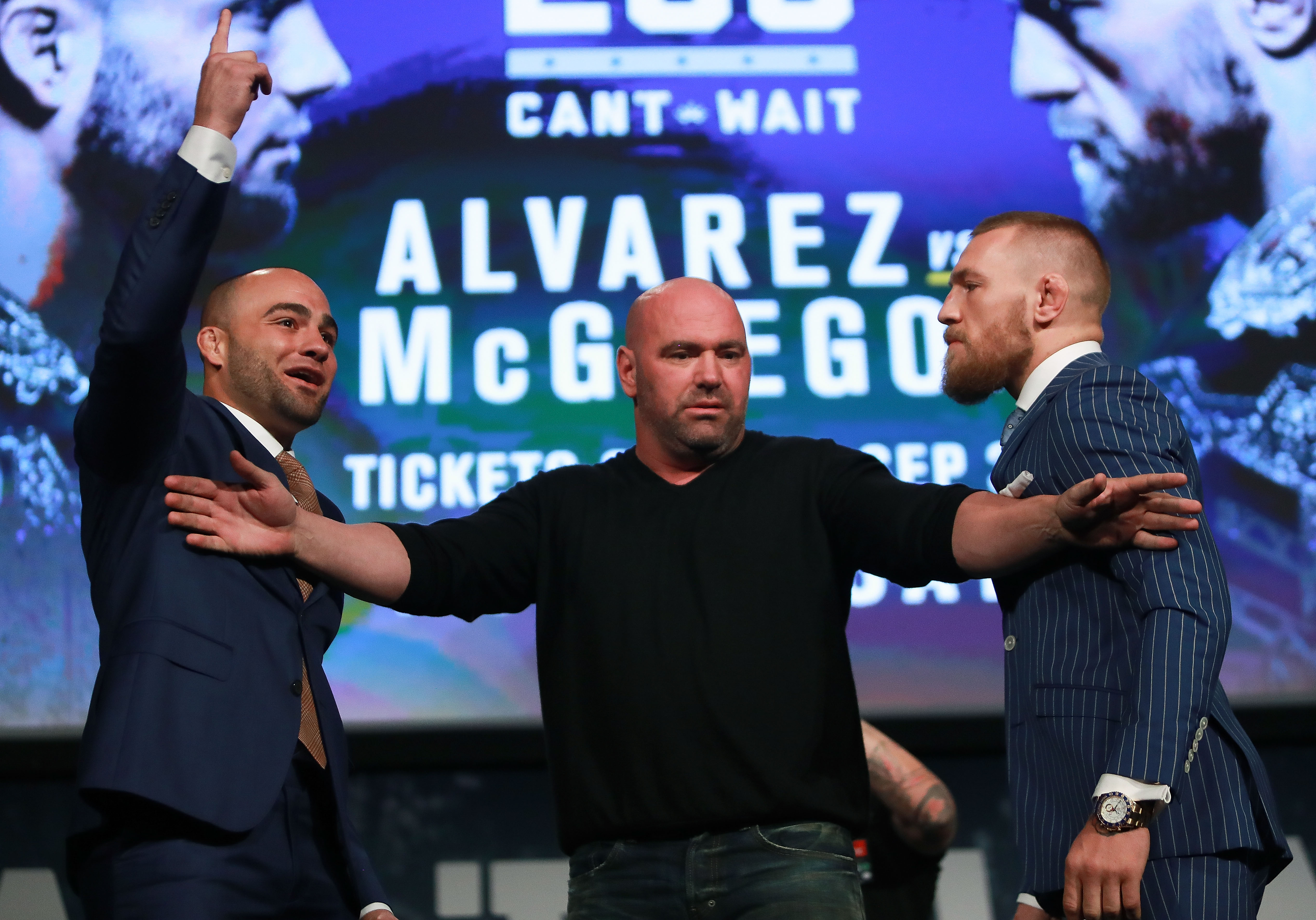 Conor McGregor and Eddie Alvarez face-off as UFC president Dana White breaks them up at the UFC 205 press conference at The Theater at Madison Square Garden on September 27, 2016 in New York City.  (Getty Images)
