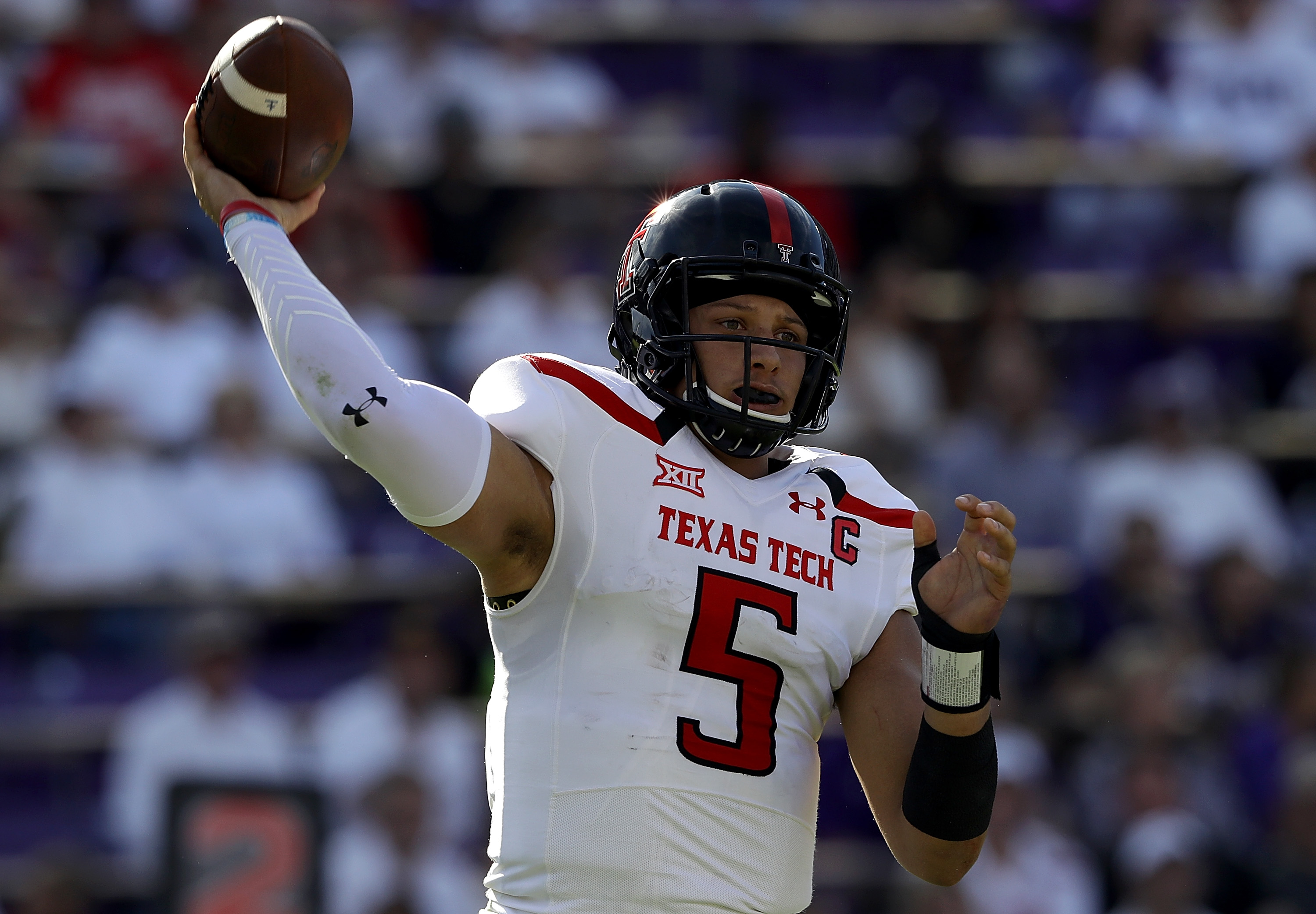 Texas Tech cornerback Patrick Mahomes is in the running to be the first quarterback selected in the NFL Draft later this month. (Getty Images)