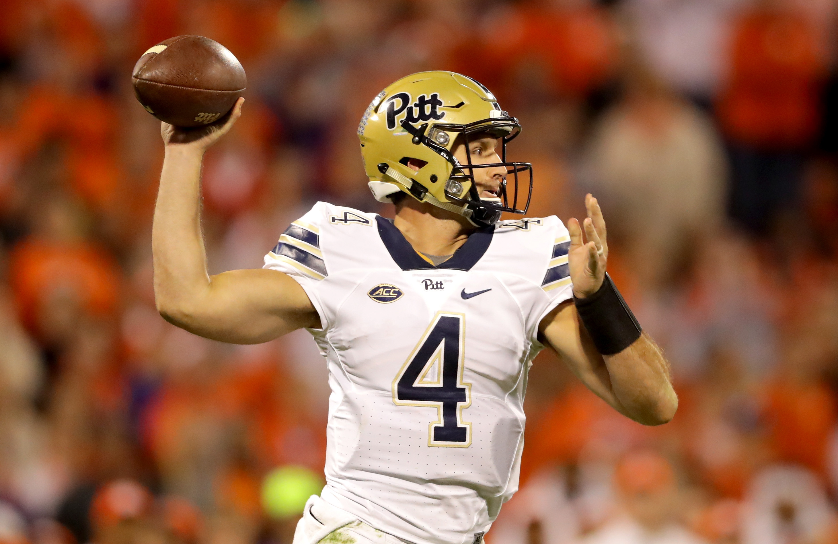 Nathan Peterman led a high-powered Pitt offense in 2016. He averaged 15.43 yards per completion. (Getty Images)