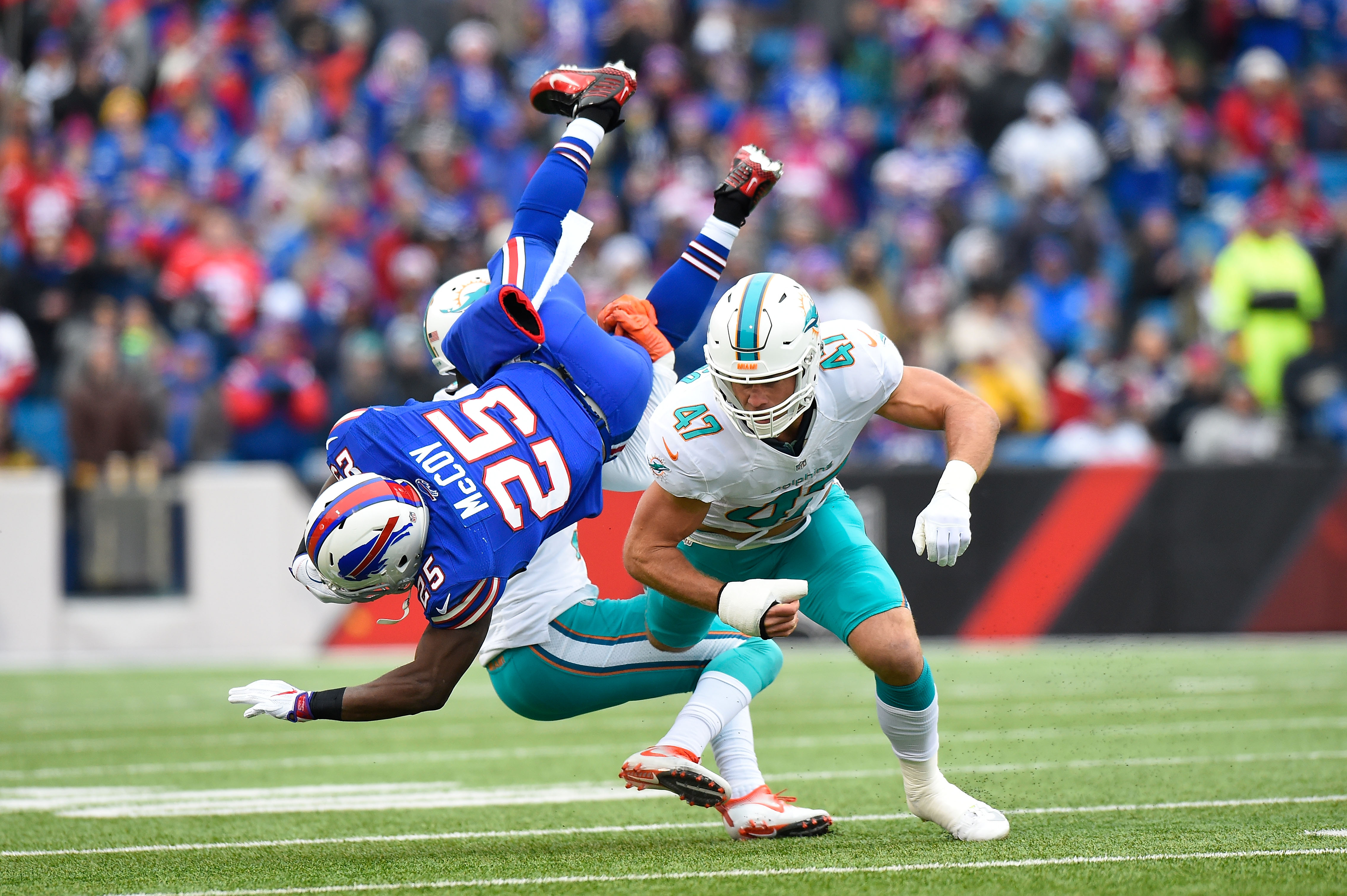 This photo of Dolphins linebacker Kiko Alonso tackling Bills running back LeSean McCoy has sparked a rivalry. (Getty Images)
