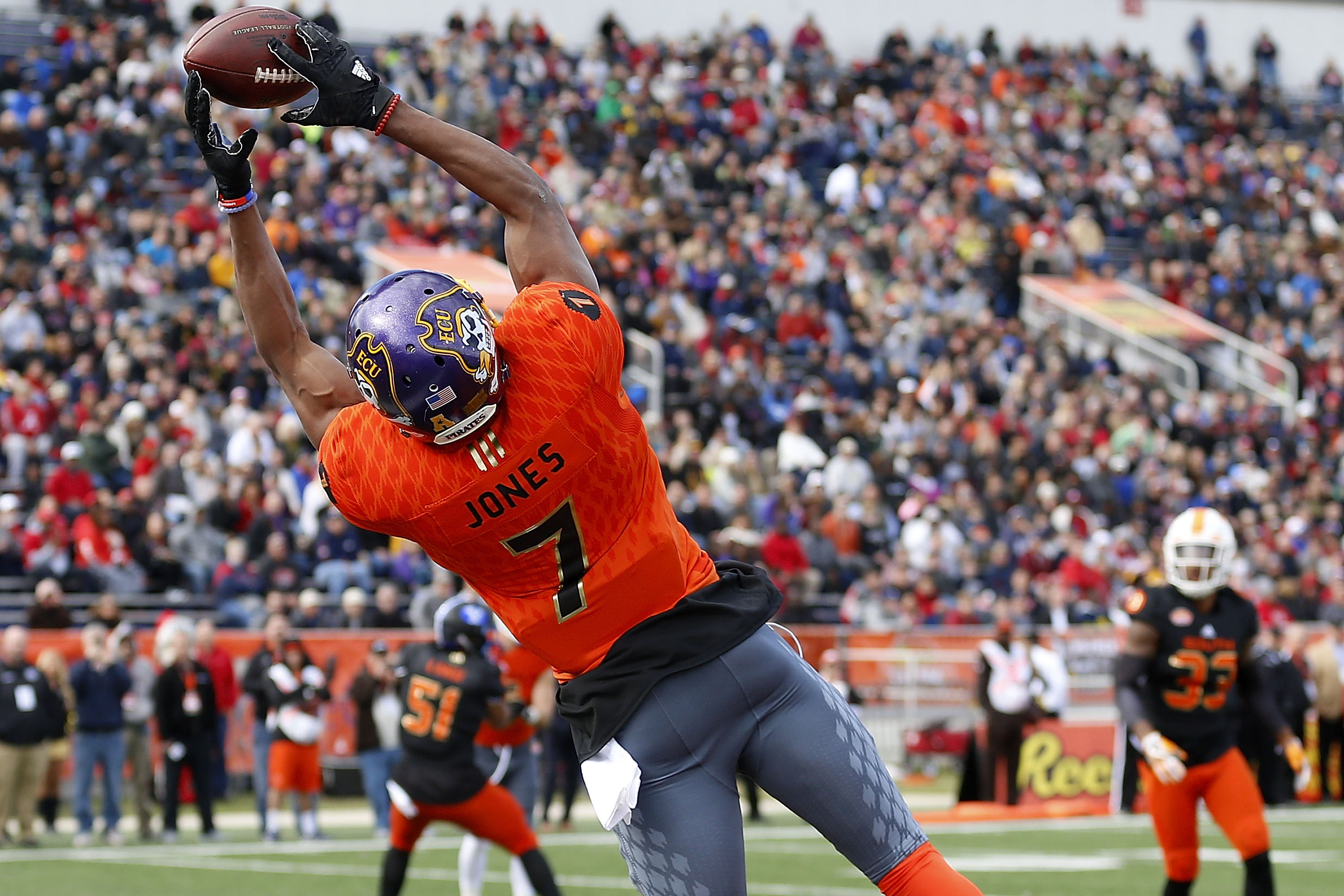 East Carolina's Zay Jones caught more passes than any other player in NCAA history. (Getty Images)