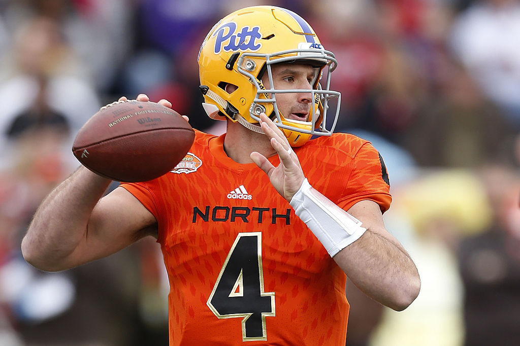 Pitt quarterback Nathan Peterman is getting plenty of love as the Bills' fifth-round draft pick. (Getty Images)