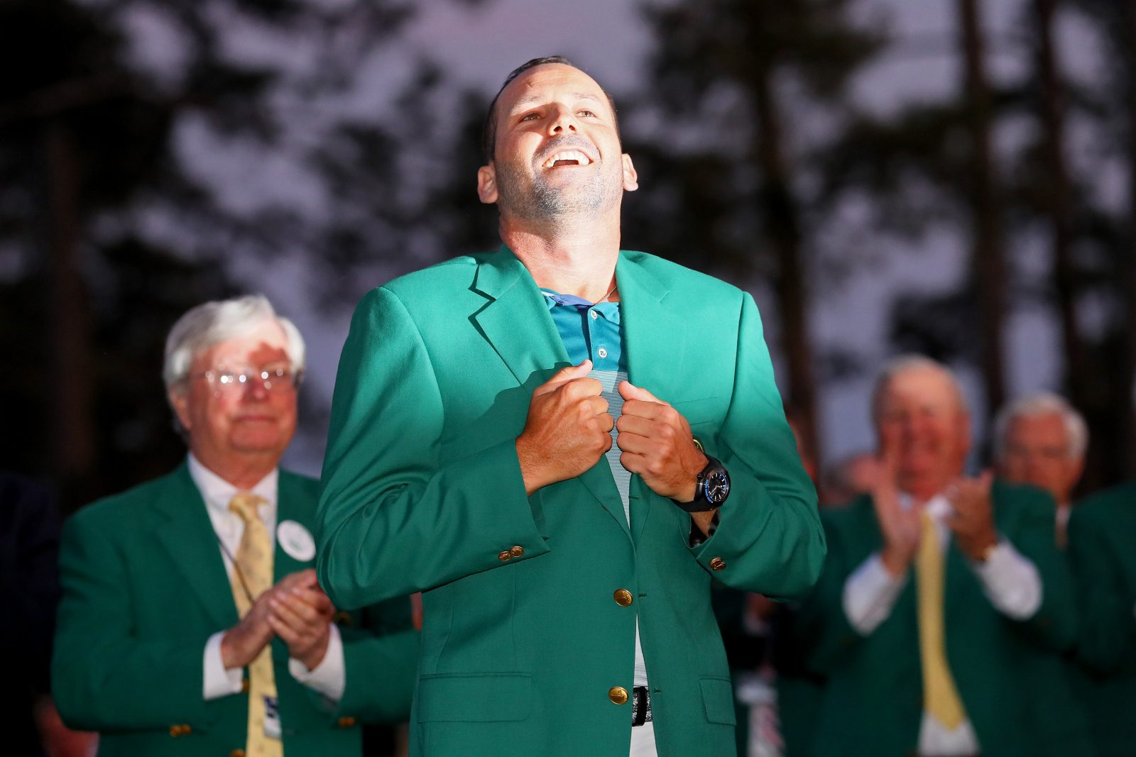 Sergio Garcia celebrates his Masters win. (Getty Images)
