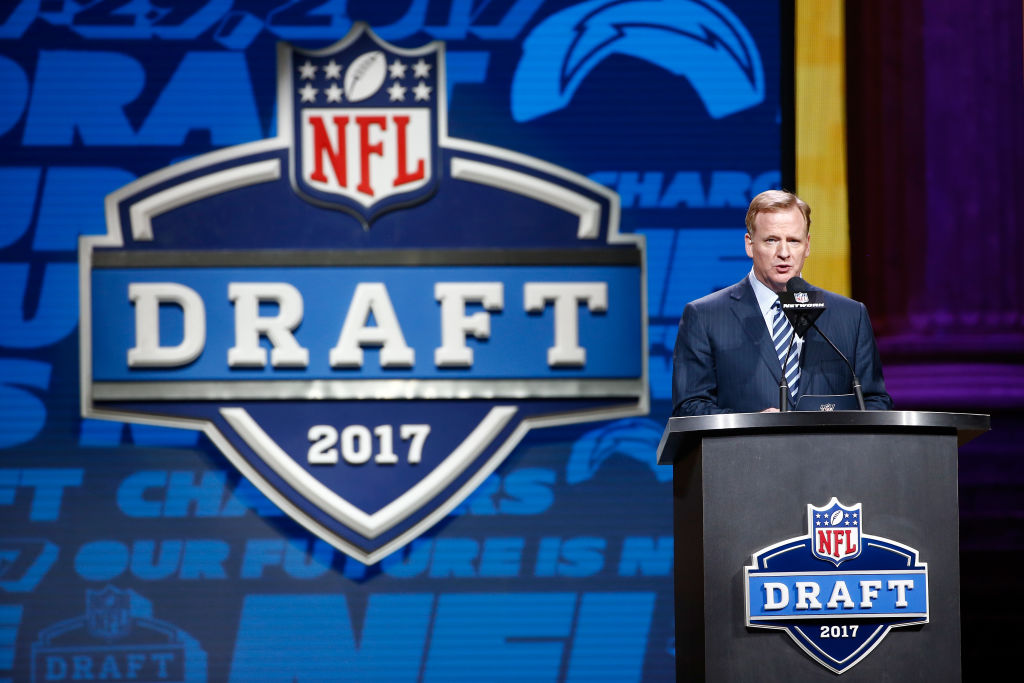 Roger Goodell at the first round of the 2017 NFL Draft at the Philadelphia Museum of Art on April 27, 2017 in Philadelphia, Pennsylvania. (Getty Images)