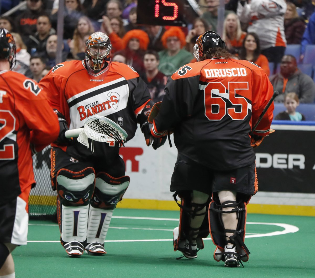 Time for a new goalie - Dave DiRuscio replaces Anthony Cosmo. (Photo by Harry Scull Jr. / Buffalo News)