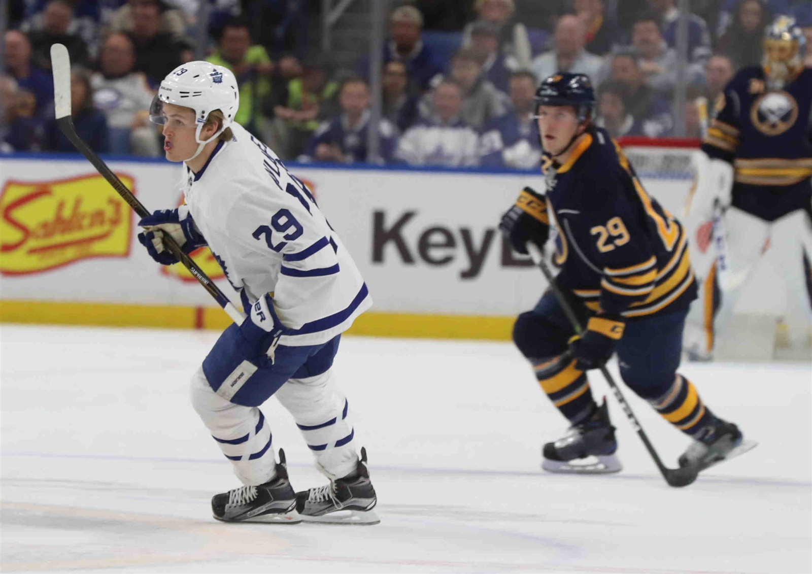 Sabres defenseman Jake McCabe, following Toronto's William Nylander, is minus-12 in his last 14 games. (James P. McCoy/Buffalo News)
