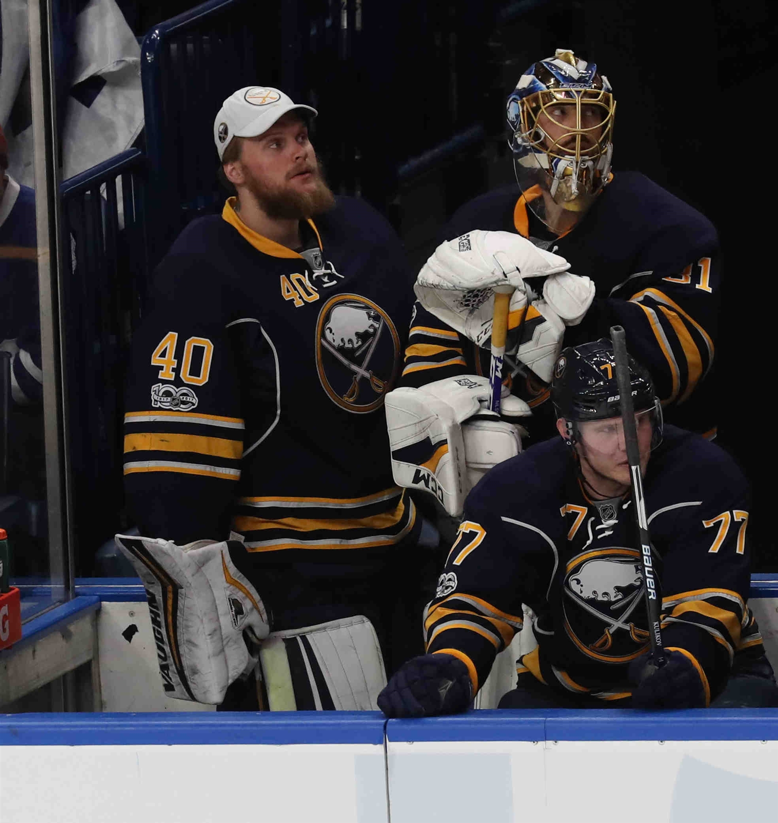 Too many nights, Sabres goalies Robin Lehner (40) and Anders Nilsson didn't like what they saw when they looked up at the scoreboard. (James P. McCoy/Buffalo News)