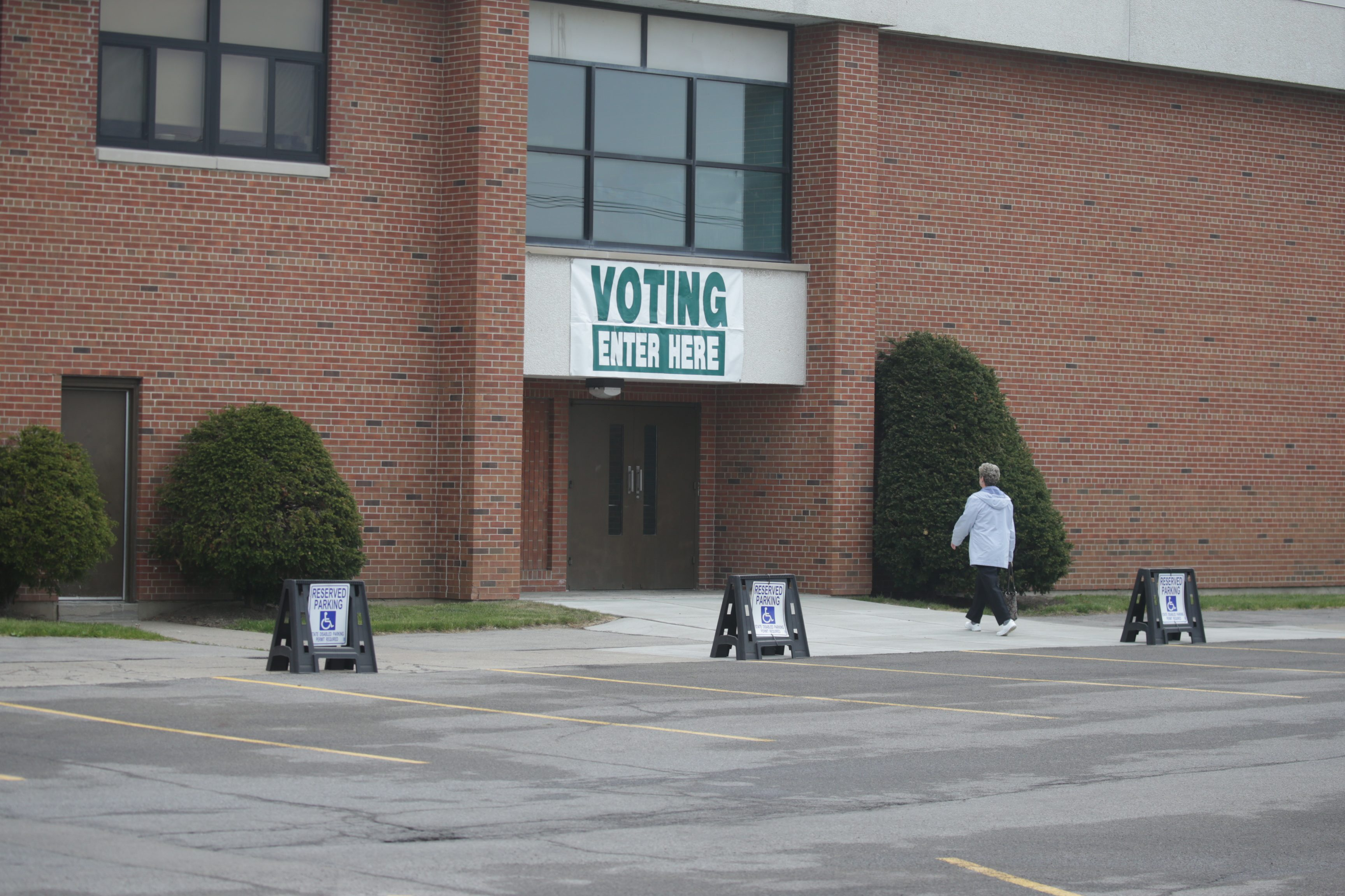 Voting on Election Day in the suburbs at Hoover Middle School, in Town of Tonawanda, N.Y., on Tuesday May 17, 2016.   (John Hickey/Buffalo News file photo)