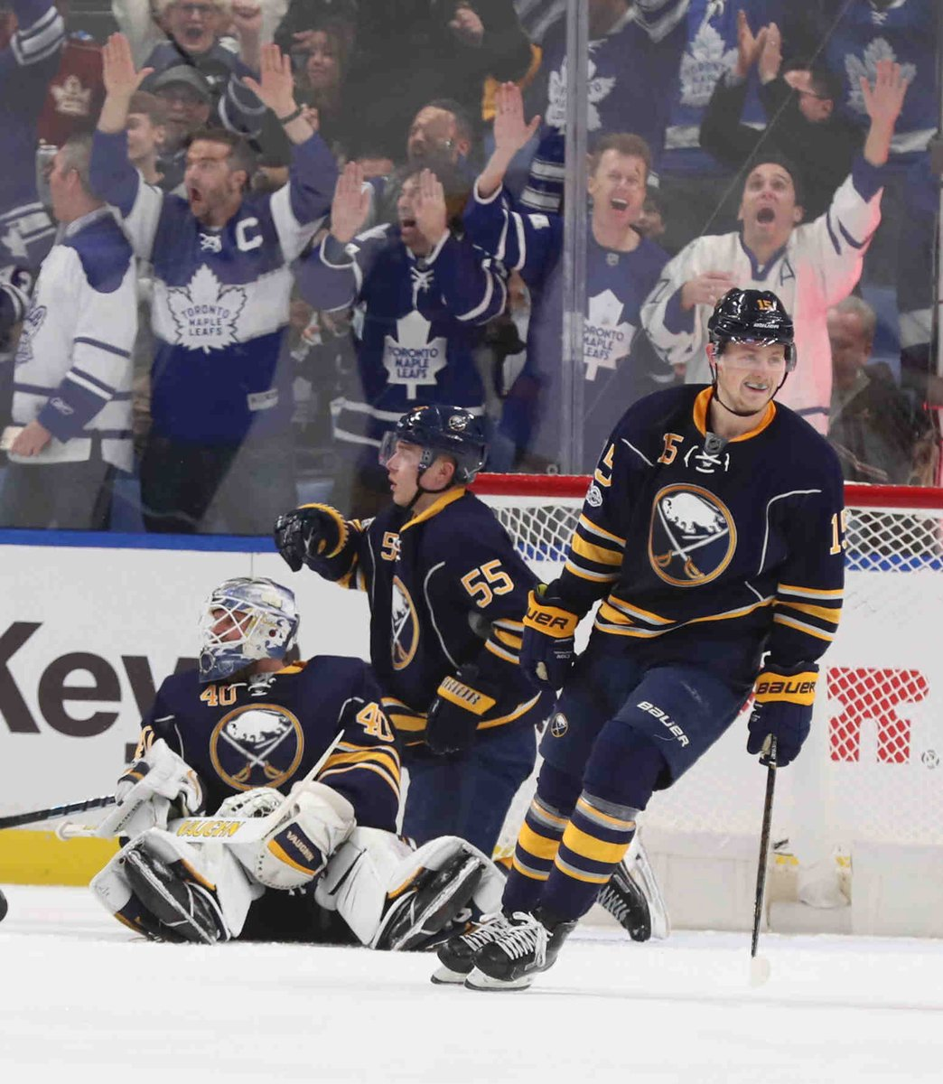 Jack Eichel and Rasmus Ristolainen can't do anything to help Robin Lehner on Auston Matthews' goal (James P. McCoy/Buffalo News).