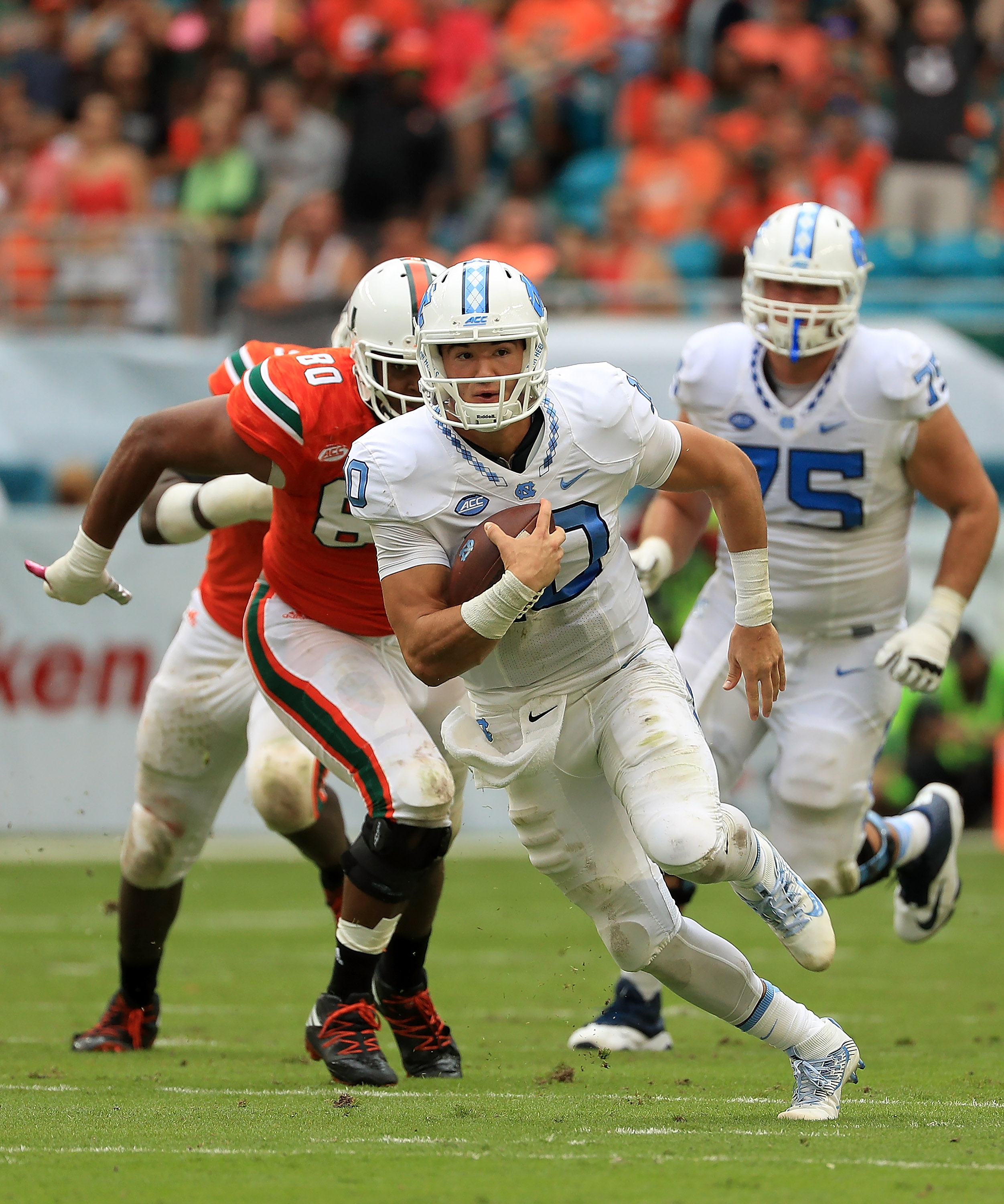Mitchell Trubisky of the North Carolina Tar Heels is at the top of what appears to be a weak quarterback class. (Photo by Mike Ehrmann/Getty Images)
