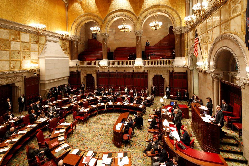 The New York State Senate returned Sunday night to vote on the budget. (Derek Gee/Buffalo News)