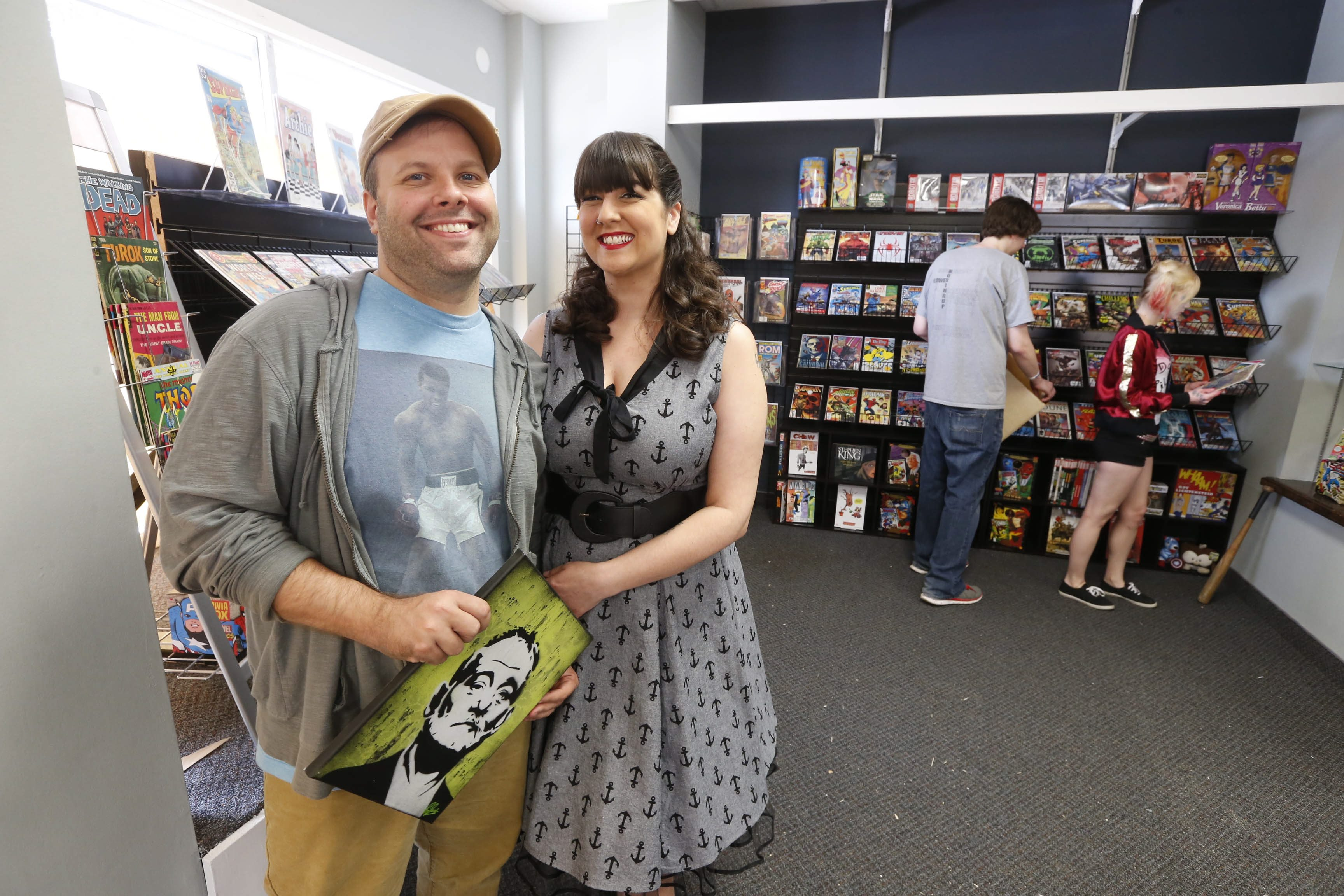 Pulp 716 owners Amy and Jay Berent at their Lockport location. (Robert Kirkham/Buffalo News)