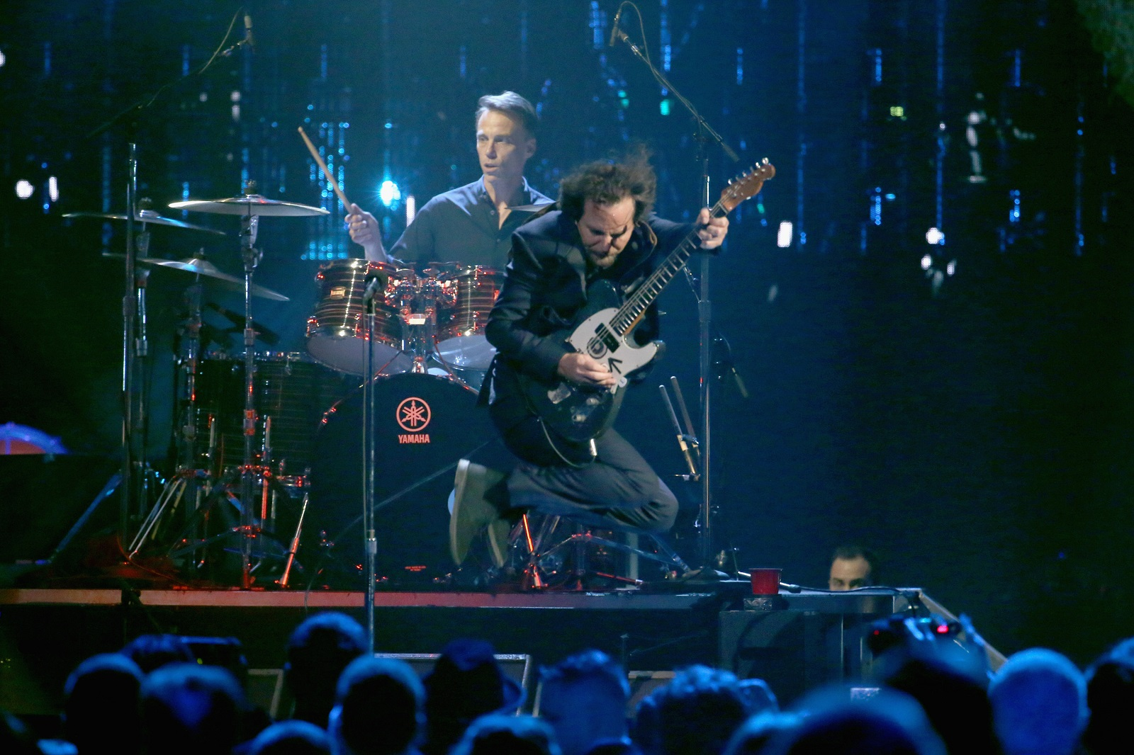 Inductees Eddie Vedder of Pearl Jam and Matt Cameron perform onstage at the 32nd annual Rock & Roll Hall of Fame induction ceremony.  (Photo by Kevin Kane/WireImage for Rock and Roll Hall of Fame)