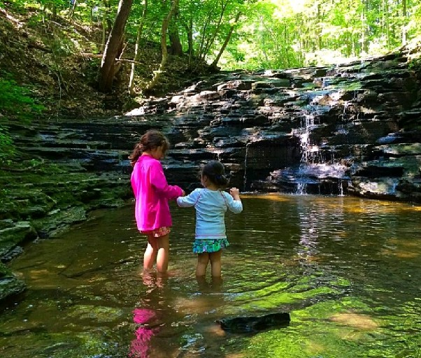 Two children stand in a pool at the base of a waterfall at the new Owens Falls Sanctuary in Aurora. The waterfall was previously called Jackson Falls. The Western New York Land Conservancy announced Sept. 22, 2016 it has raised $600,000 to buy land around the falls and create a 57-acre nature preserve. It is renaming the waterfall after Barbara and Don Owens, who donated $200,000 to the fundraising campaign. (Courtesy of WNY Land Conservancy)