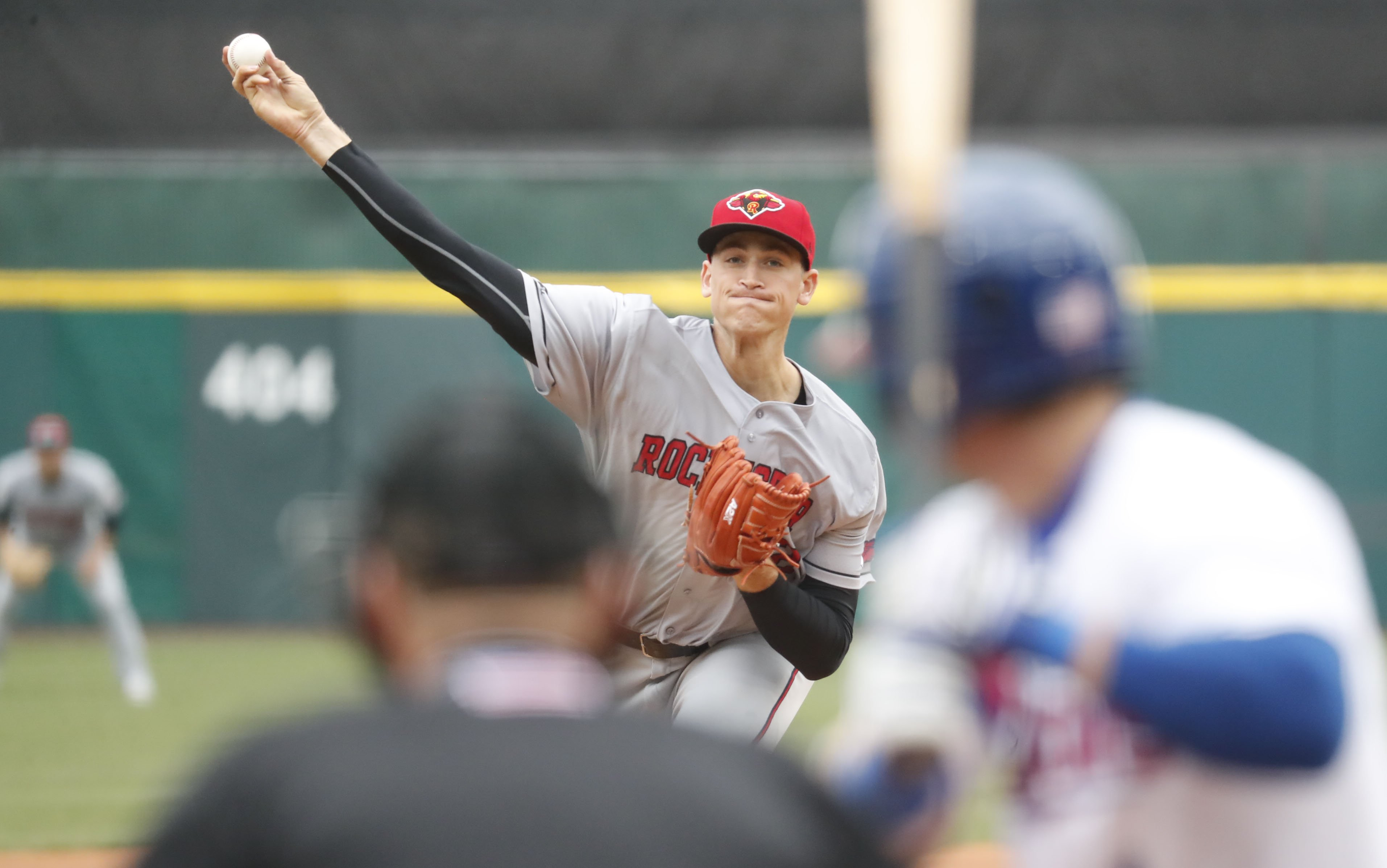 Aaron Slegers threw six innings of no-hit ball for Rochester against the Bisons. (Harry Scull Jr./Buffalo News)