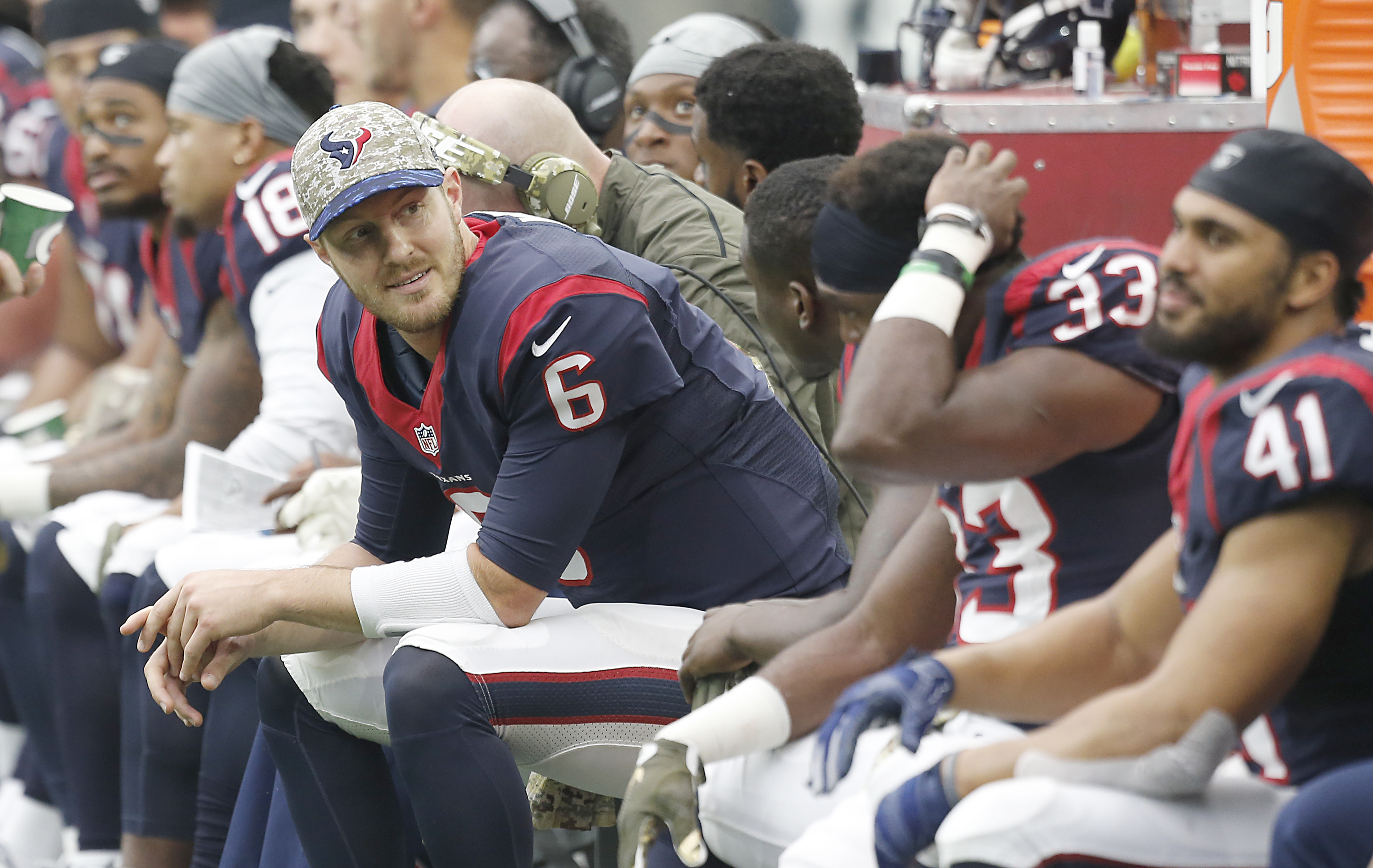 The Bills hope newly acquired quarterback T.J. Yates (6) doesn't see much of the field, but look to benefit from his knowledge. (Photo by Thomas Shea/Getty Images)