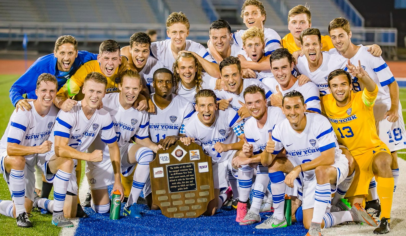 The UB Bulls, pictured after winning the Big 4 Shield in 2015, will no longer have a men's soccer program. (Don Nieman/Special to The News)