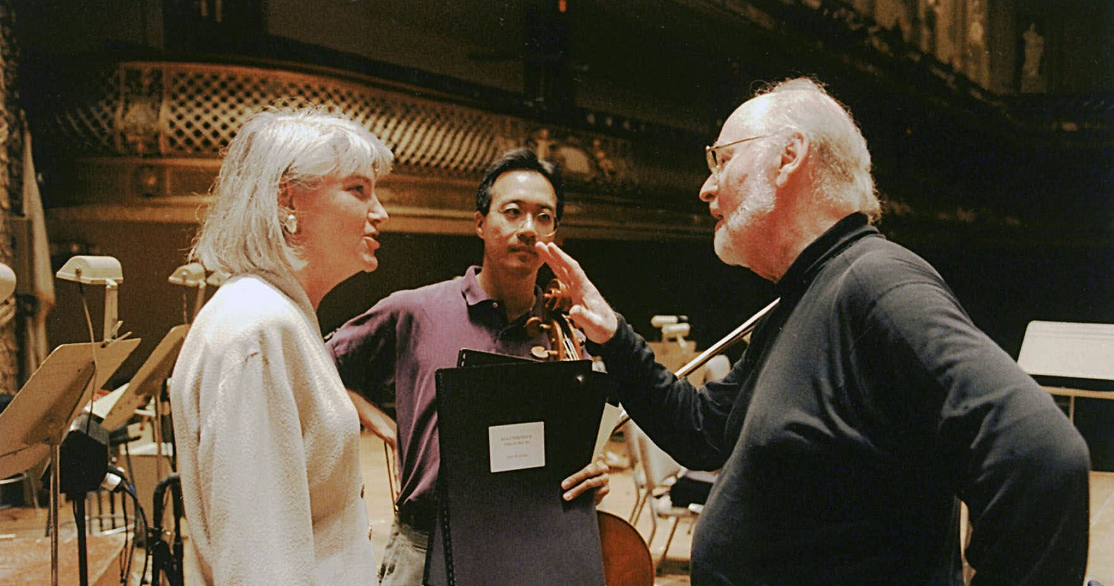 Oscar winning composer John Williams, right, working on the theme for the series ExxonMobil Masterpiece Theatre's American Collection.
