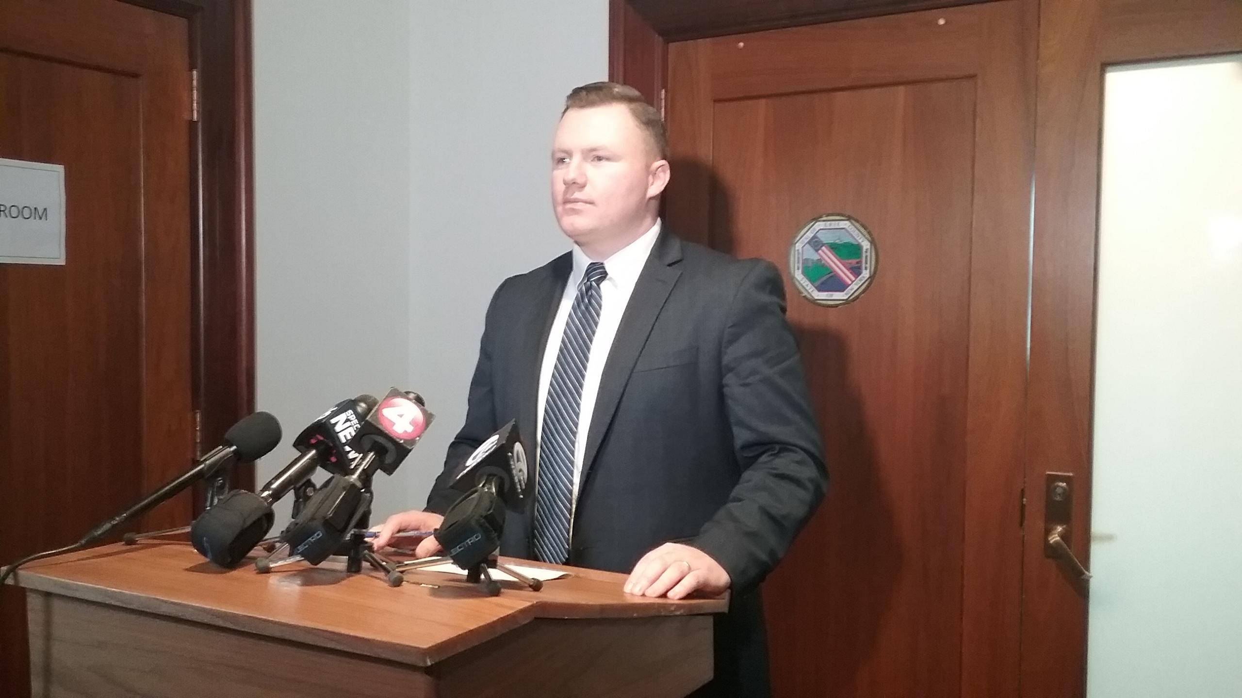 Erie County Legislator Patrick Burke, D-Buffalo, announces his desire for an additional $1 million to go toward drug treatment.