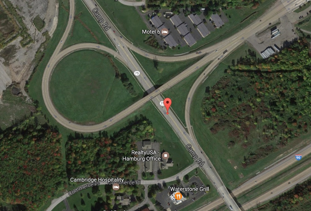 Plans to change the configuration of the Thruway ramps near Camp Road in Hamburg are the subject of a planned public meeting. (Google Maps)