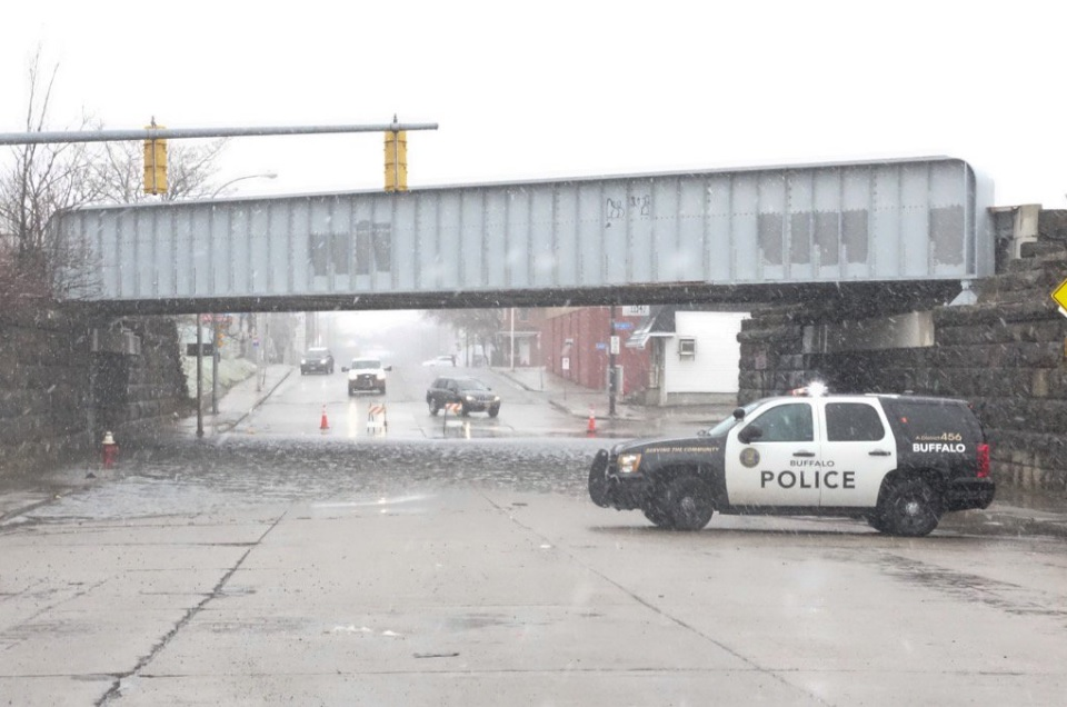 Clinton Street in Buffalo is still closed between Babcock and Laux streets because of flooding. (John Hickey/Buffalo News)